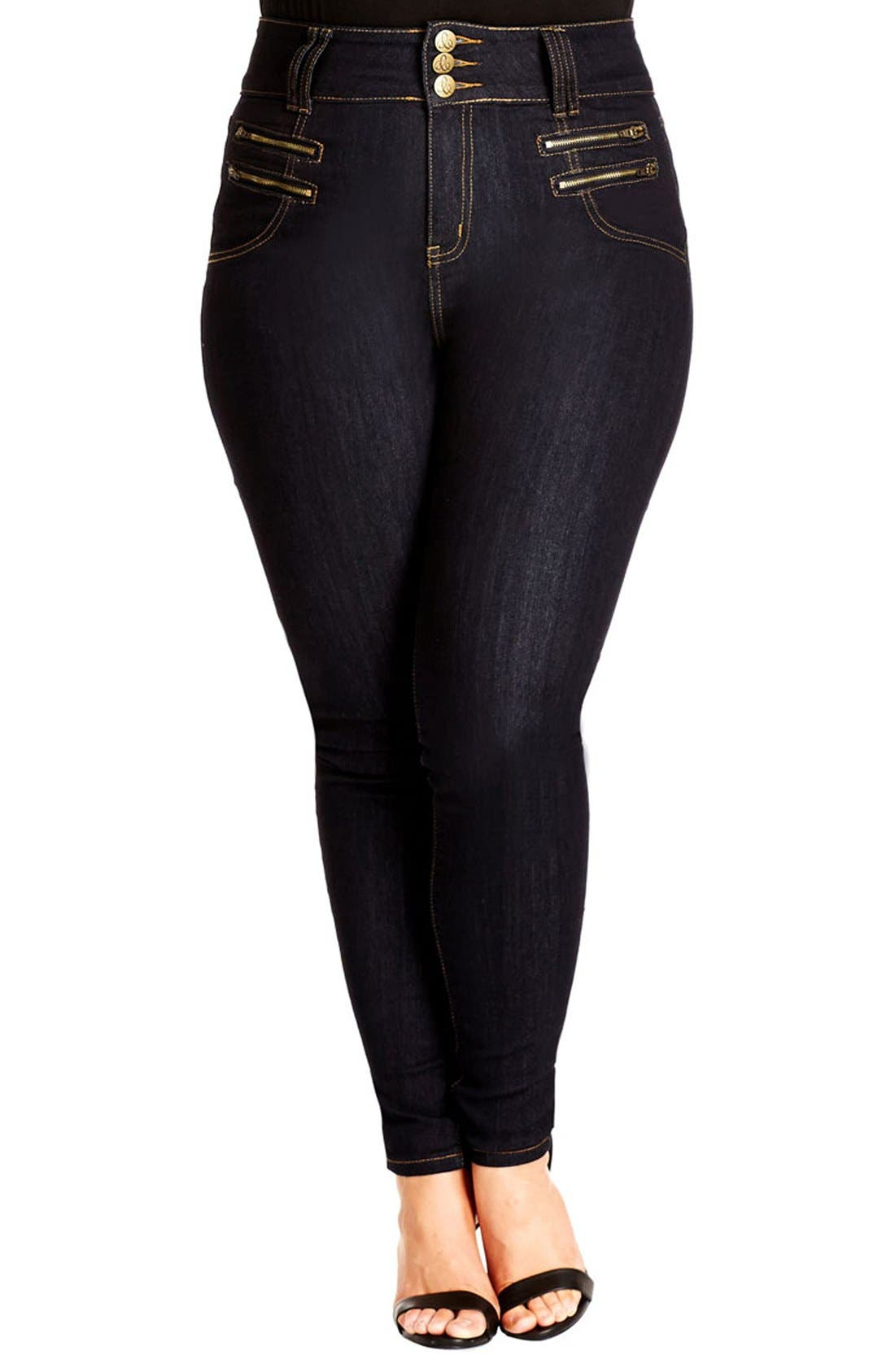 Main Image - City Chic 'Slim Me' Skinny Jeans (Dark Denim) (Plus Size)
