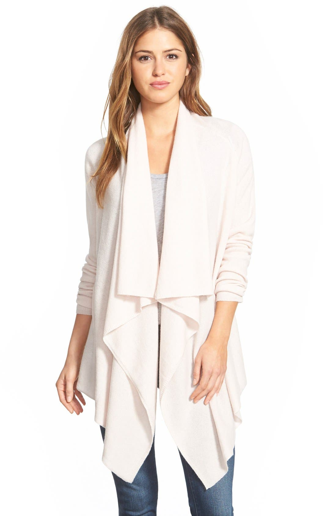 Alternate Image 1 Selected - Halogen® Wool & Cashmere Drape Front Cardigan (Regular & Petite)