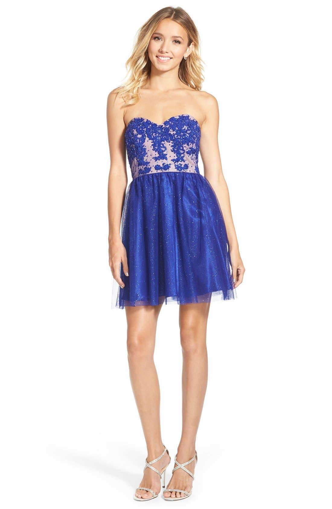 Alternate Image 1 Selected - Jump Apparel Strapless Lace Bodice Skater Dress