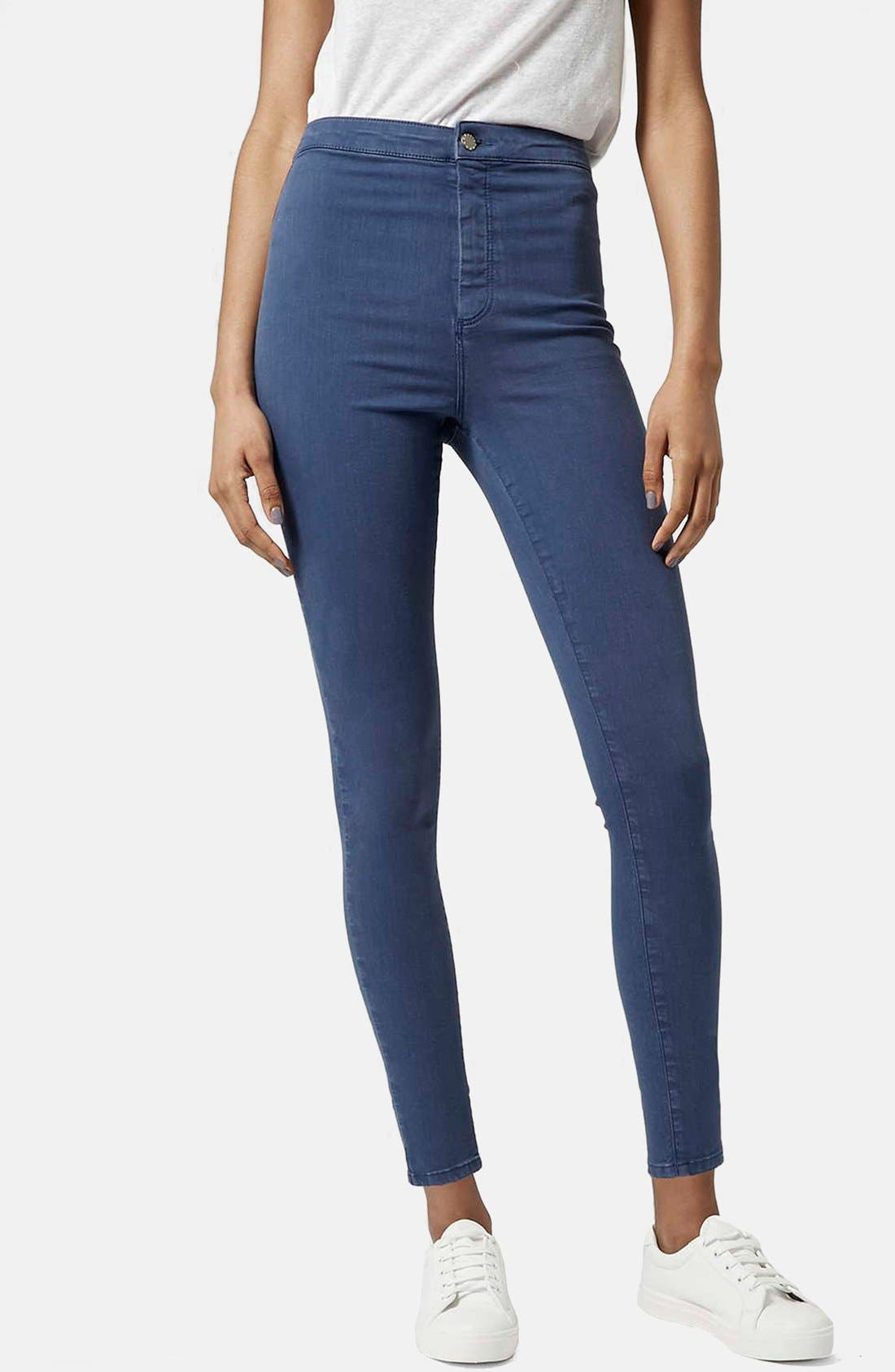 Alternate Image 1 Selected - Topshop Moto 'Joni' High Rise Skinny Jeans (Blue)