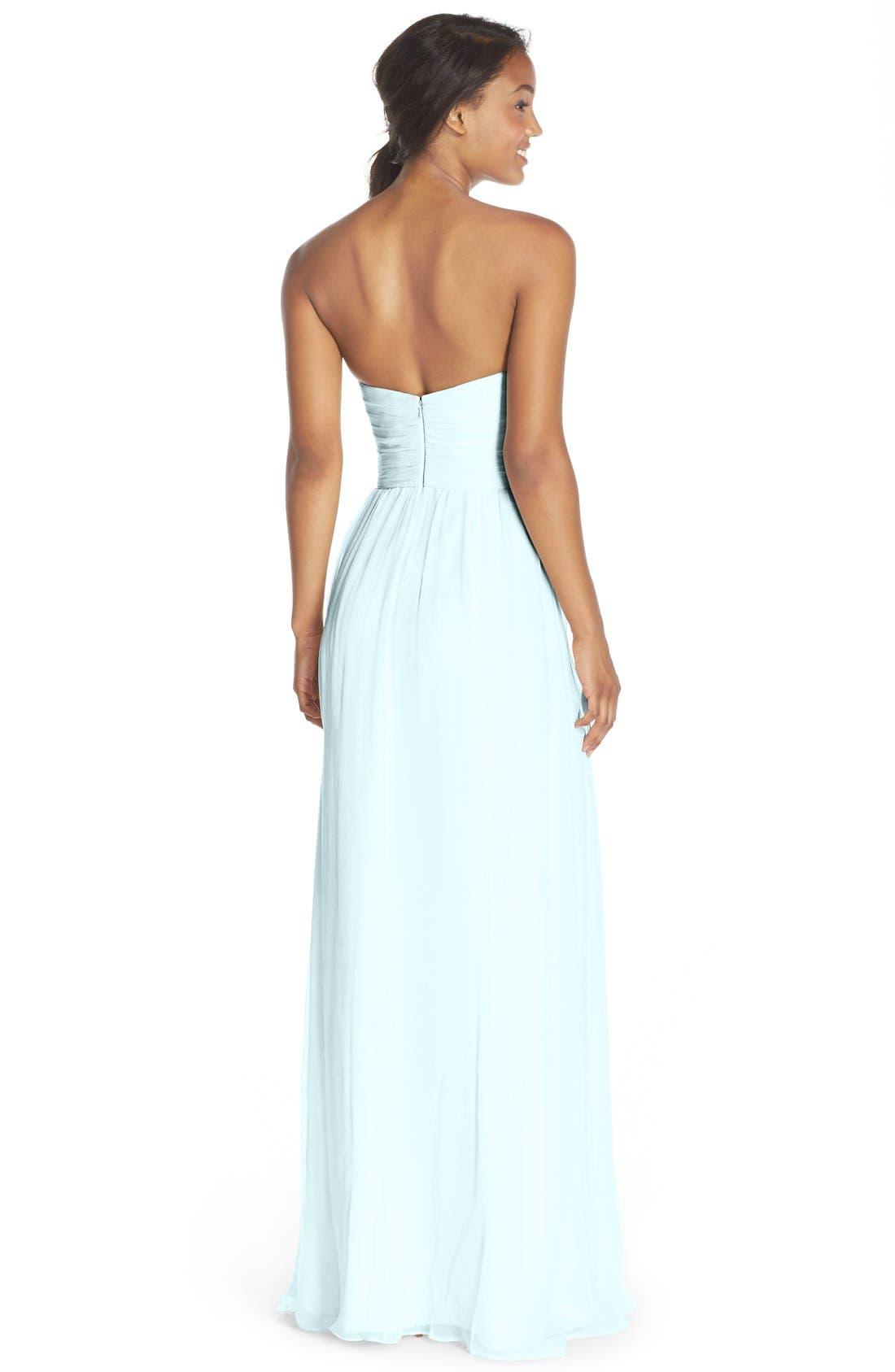 Alternate Image 2  - Amsale Strapless Silk Chiffon Gown