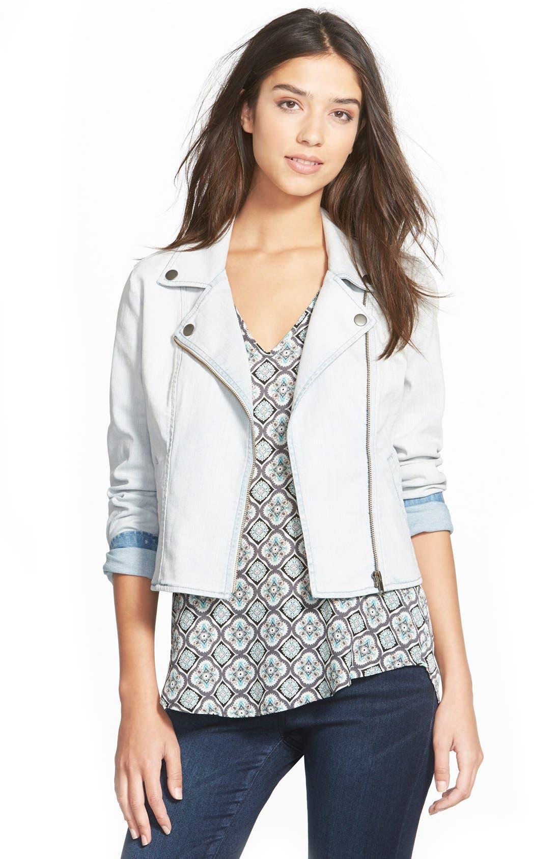 Alternate Image 1 Selected - Frenchi® Denim Moto Jacket (Juniors)