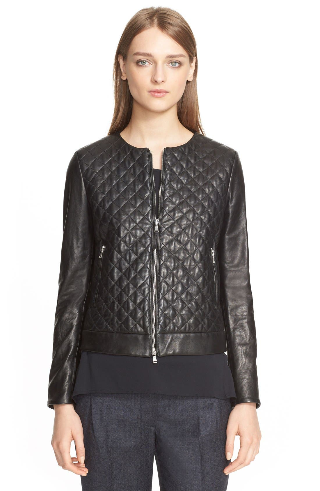 Alternate Image 4  - Eleventy Diamond Quilted Leather Jacket