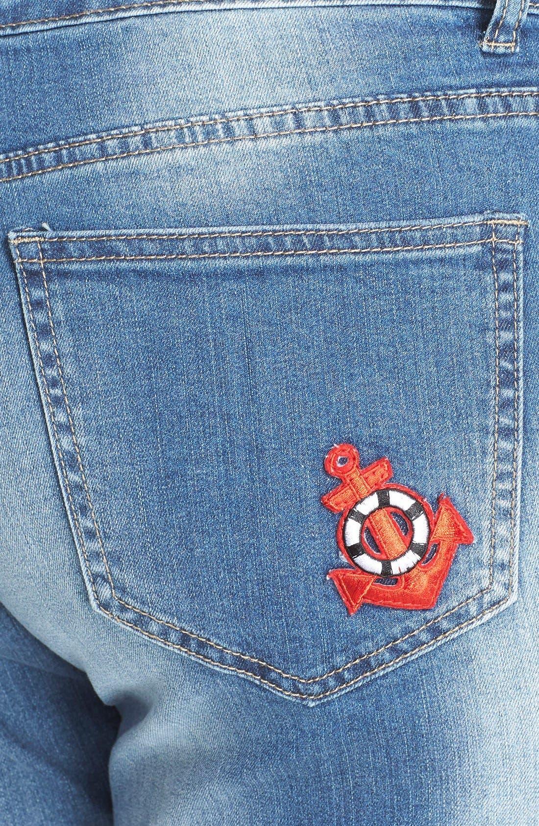 Alternate Image 4  - City Chic '80s Girl' Patch Detail Distressed Roll Cuff Jeans (Dark Denim) (Plus Size)