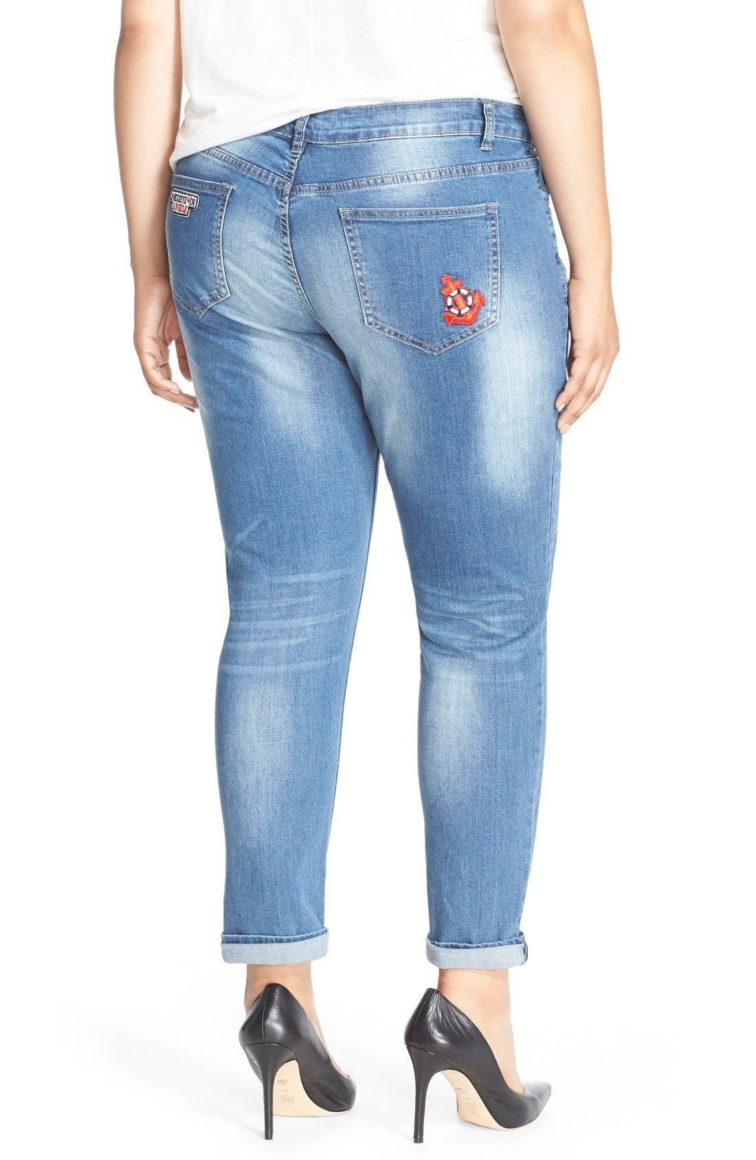 Alternate Image 3  - City Chic '80s Girl' Patch Detail Distressed Roll Cuff Jeans (Dark Denim) (Plus Size)