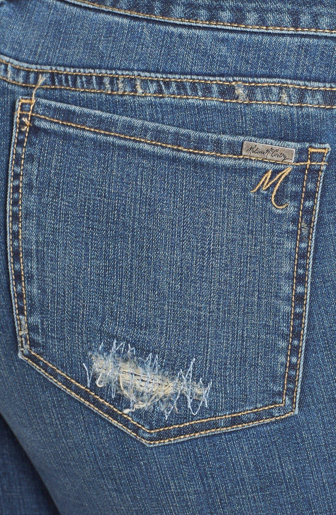 Alternate Image 3  - Melissa McCarthy Seven7 Patch Detail Roll Cuff Girlfriend Jeans (Plus Size)
