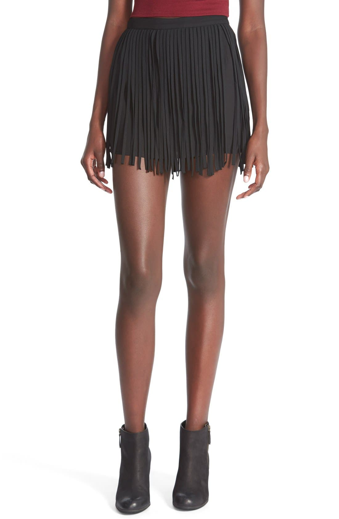 Alternate Image 1 Selected - On Twelfth Fringe Miniskirt (Juniors)