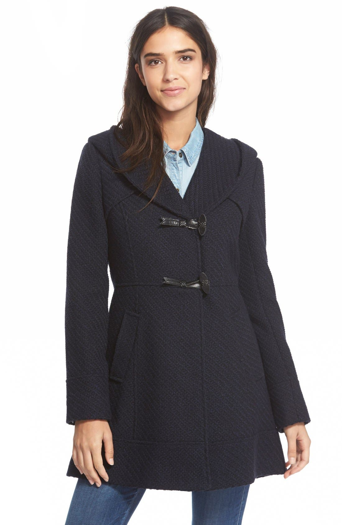 Main Image - Jessica Simpson Hooded Basket Weave Duffle Coat