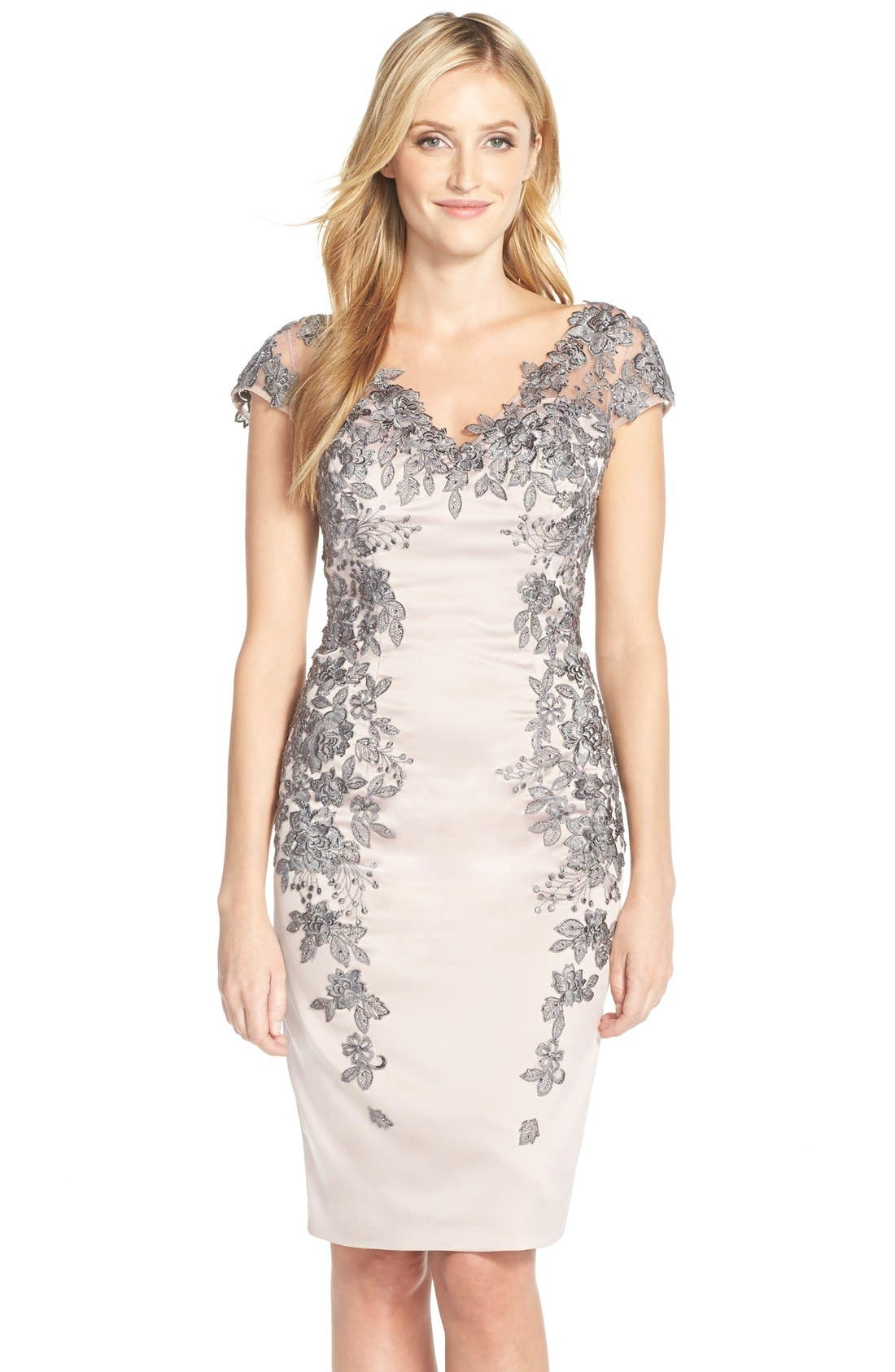 La Femme Floral Appliqué Satin Shift Dress