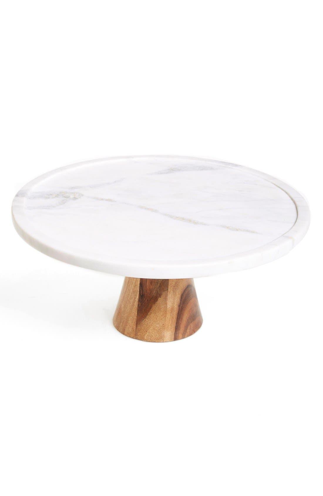 Main Image - Thirstystone Marble & Wood Cake Stand