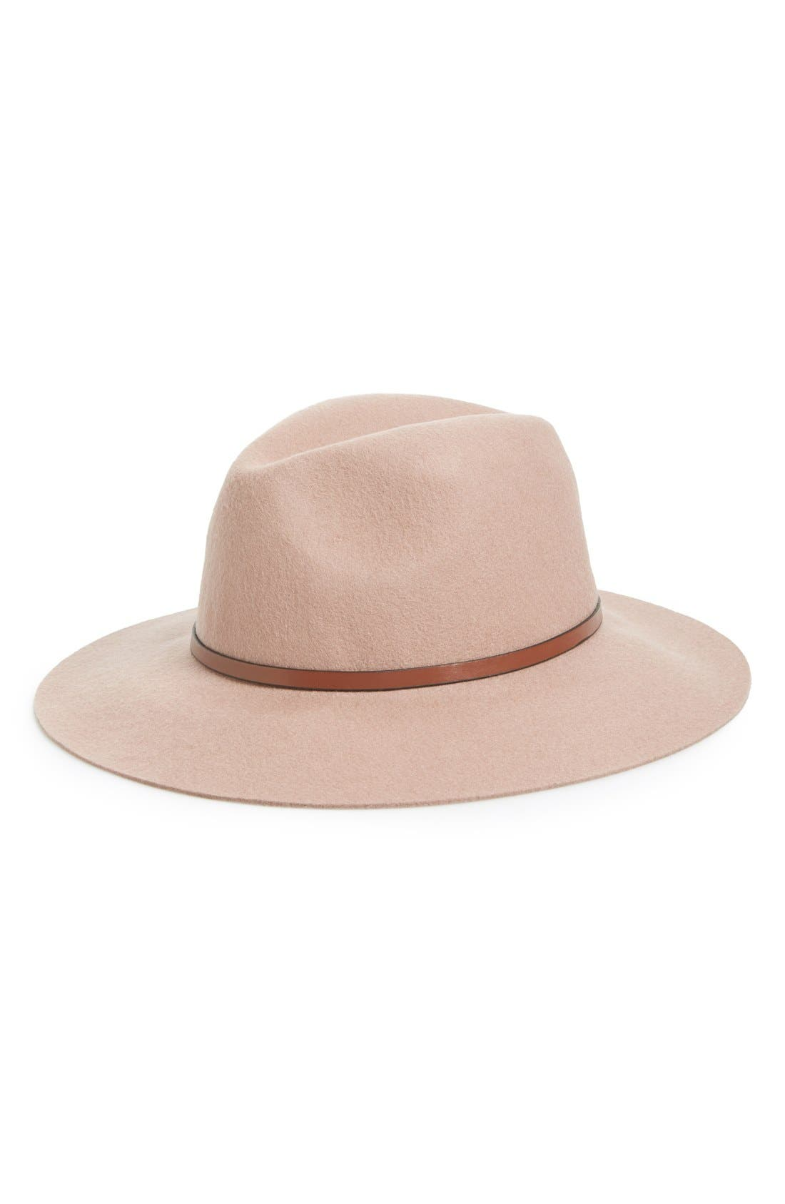 Alternate Image 1 Selected - Hinge Faux Leather Trim Wool Felt Panama Hat