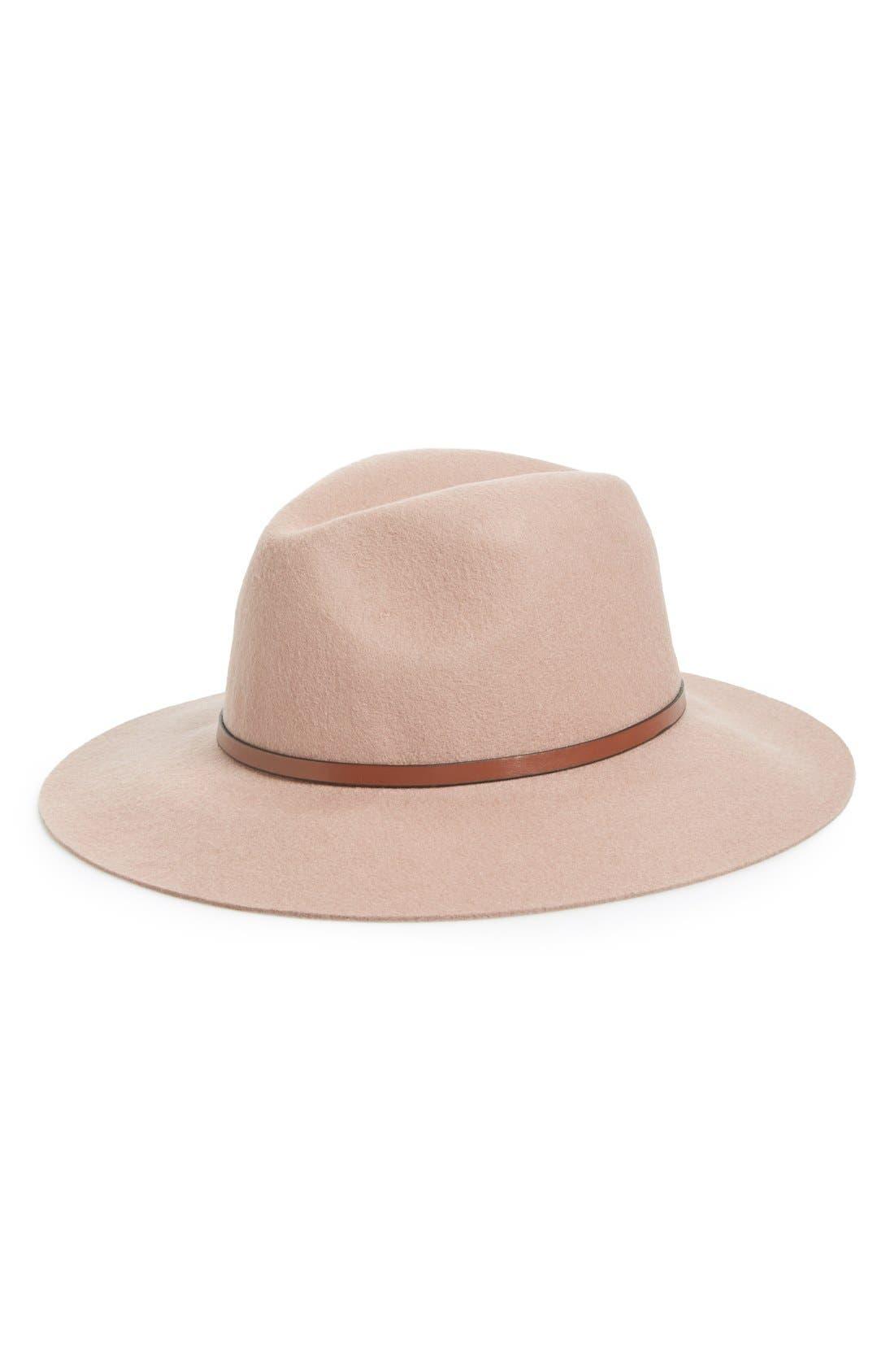 Main Image - Hinge Faux Leather Trim Wool Felt Panama Hat