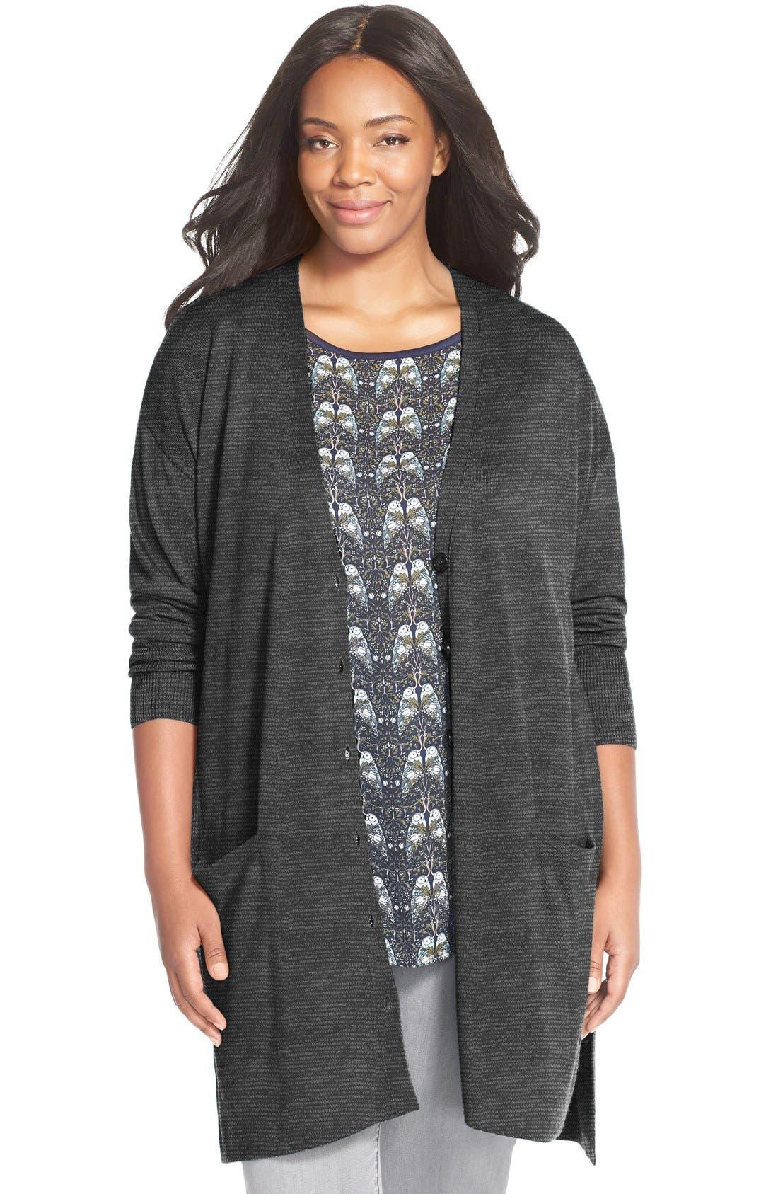 Alternate Image 1 Selected - Sejour 'Core' Wool Blend V-Neck Cardigan (Plus Size)