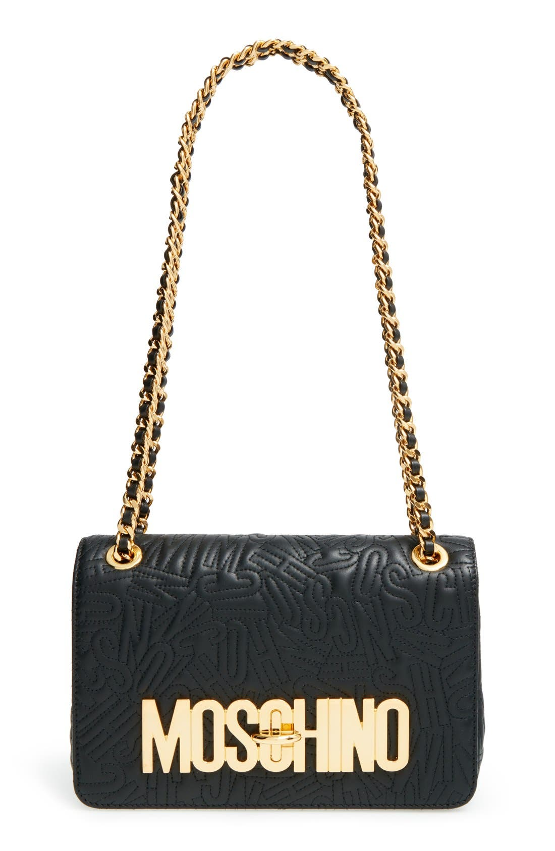 Main Image - Moschino Logo Embossed Leather Crossbody Bag
