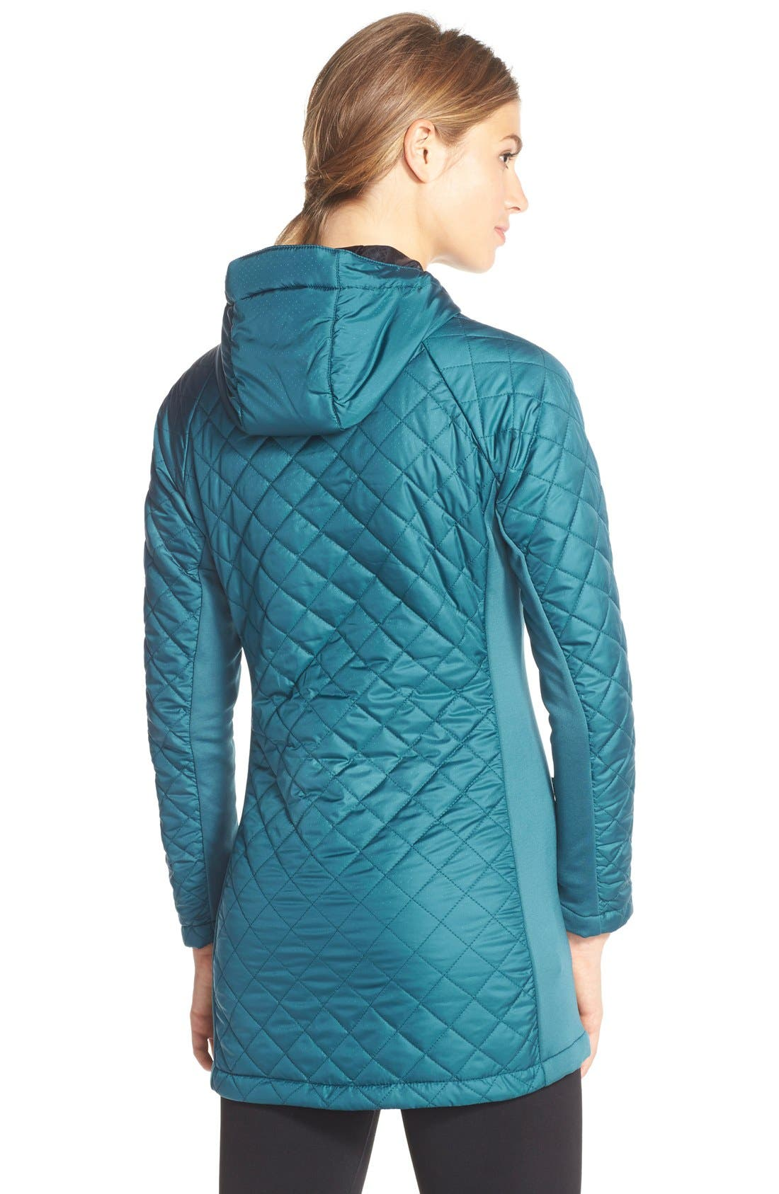 Alternate Image 2  - Merrell 'Soleil Mixer' Hooded Quilted Long Coat