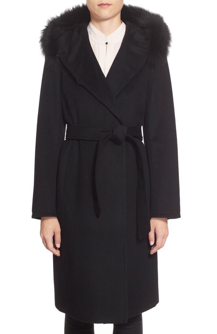 Ellen Tracy Genuine Fox Fur Trim Long Hooded Wool Blend