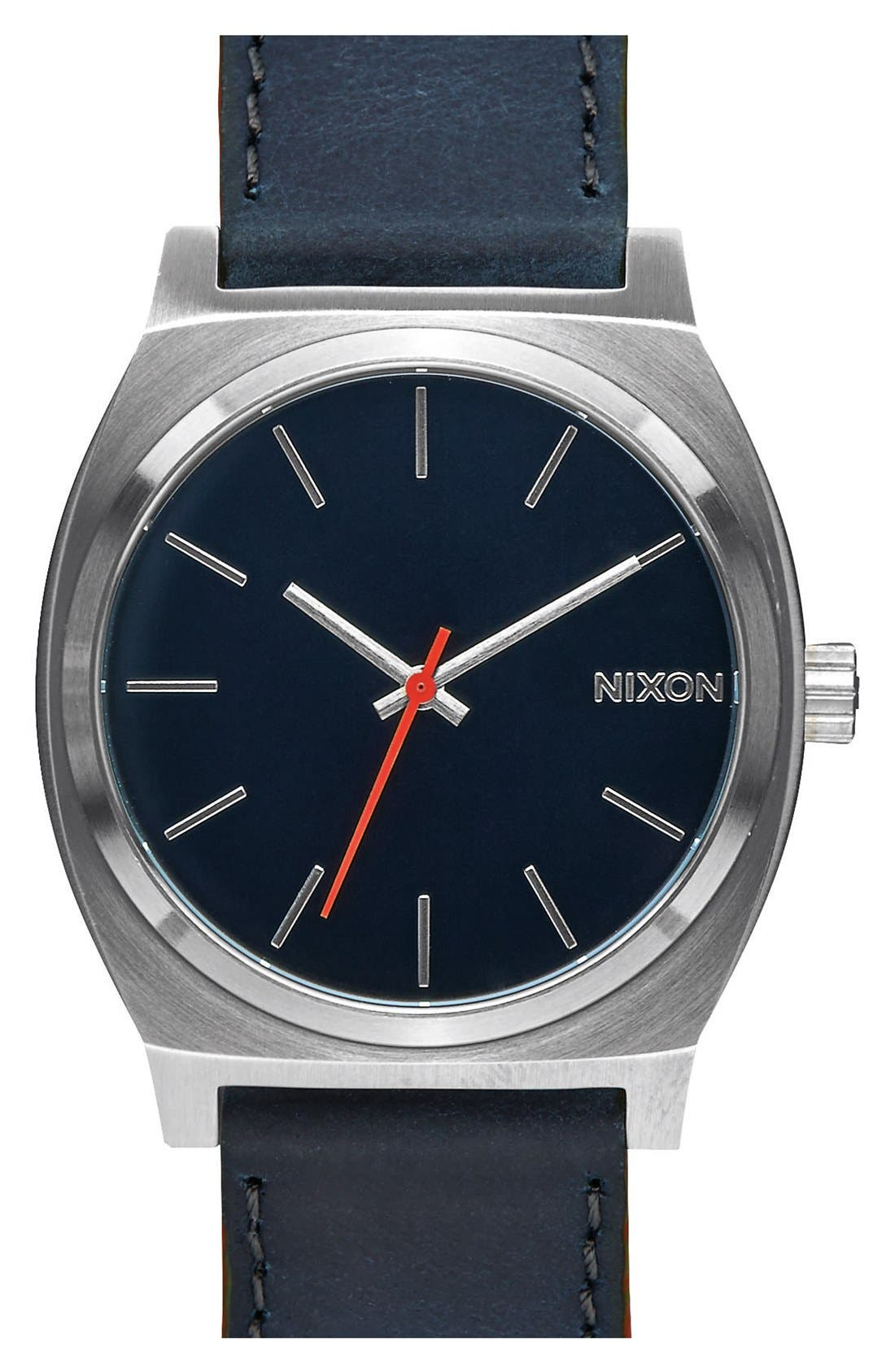 Alternate Image 1 Selected - Nixon 'The Time Teller' Leather Strap Watch, 37mm