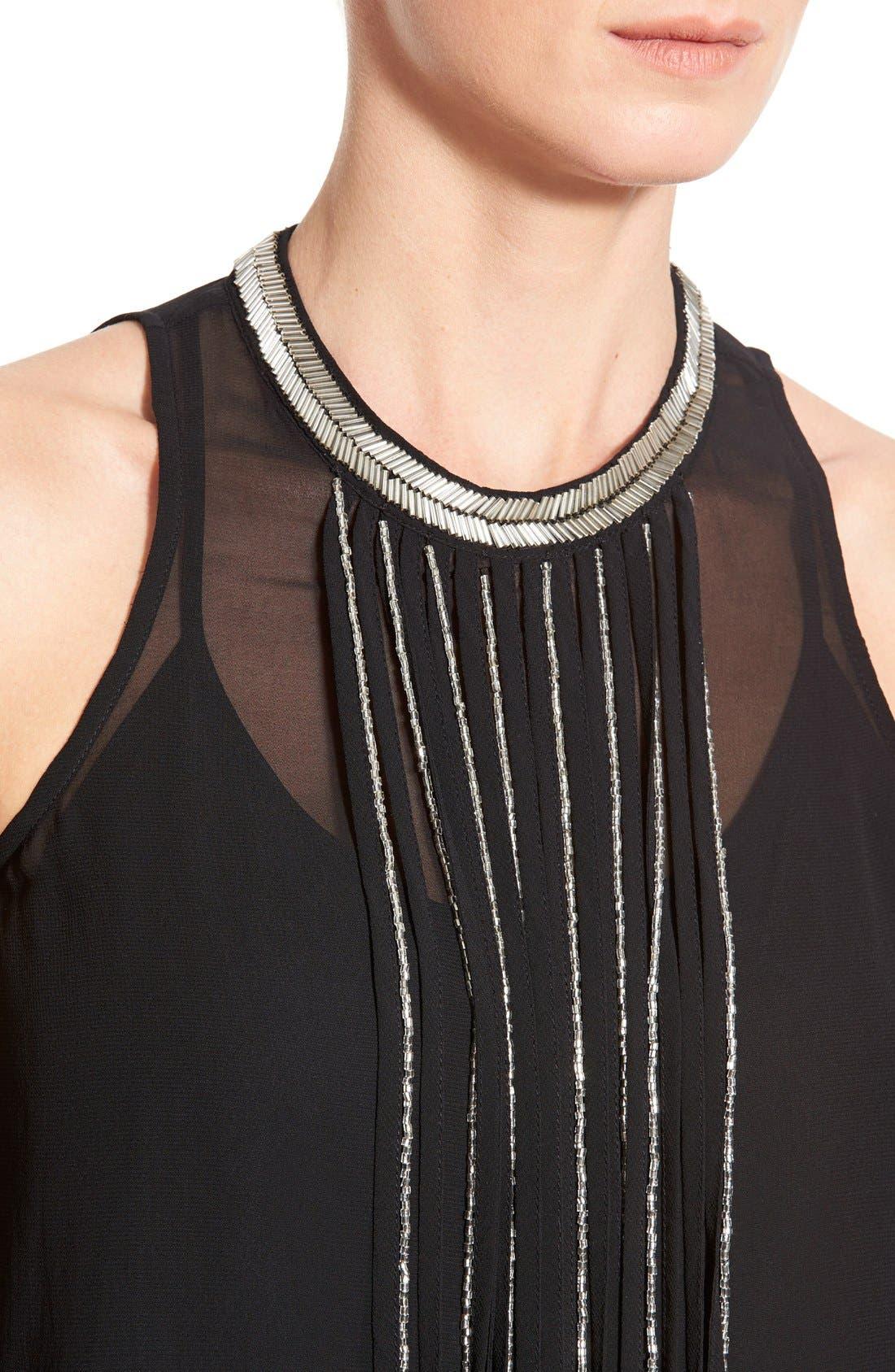 Alternate Image 4  - DKNYC Embellished Fringe Sleeveless Chiffon Top