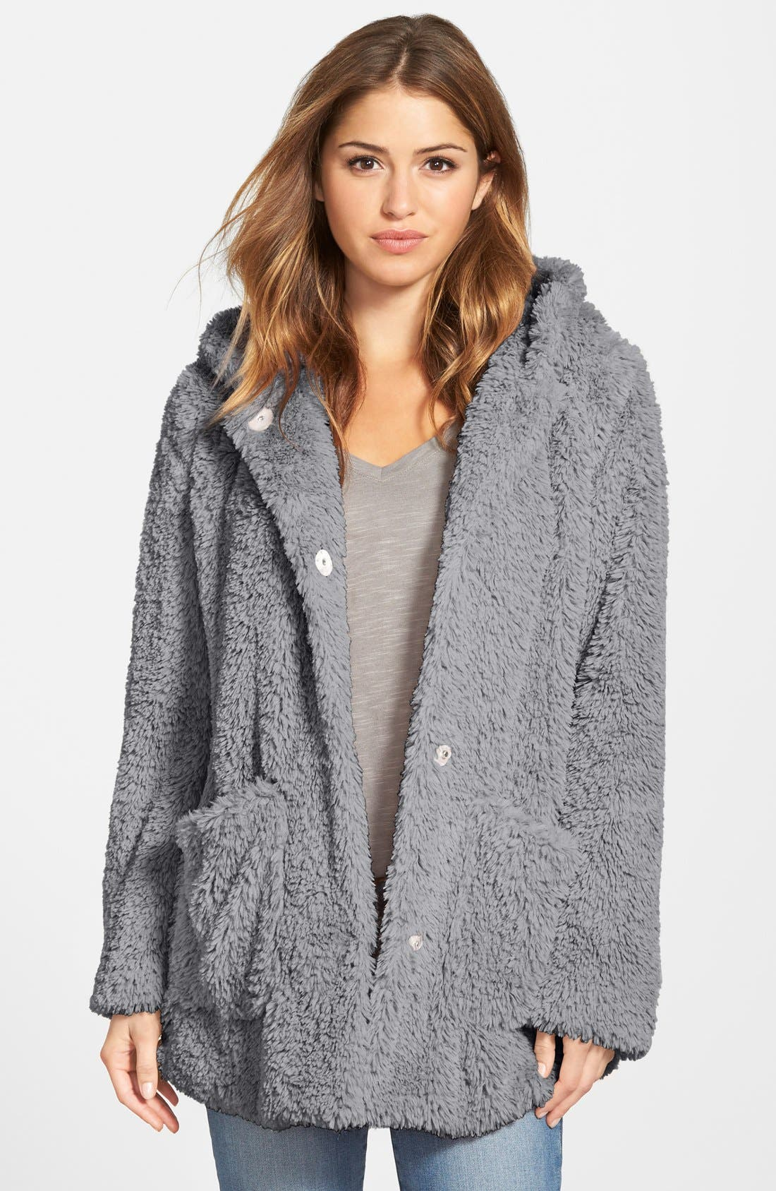 Main Image - Kenneth Cole New York 'Teddy Bear' Faux Fur Hooded Coat