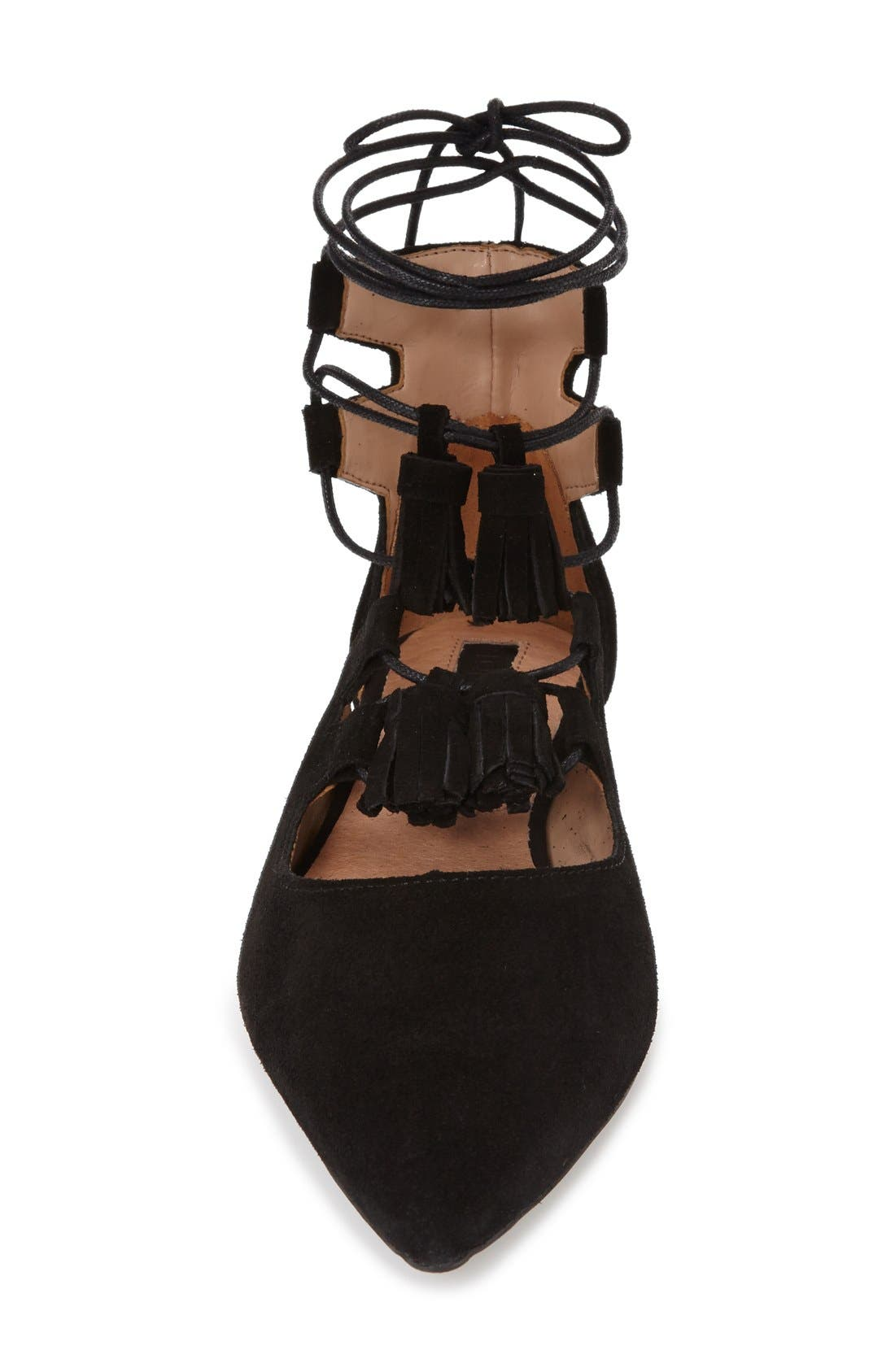 Alternate Image 3  - Topshop'Leather Kiss' Pointy Toe GhillieFlat (Women)