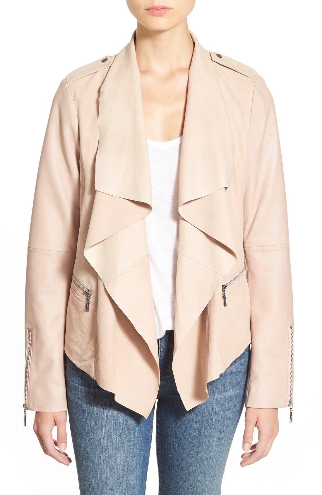 Alternate Image 1 Selected - Bernardo Drape Front Suede & Leather Jacket