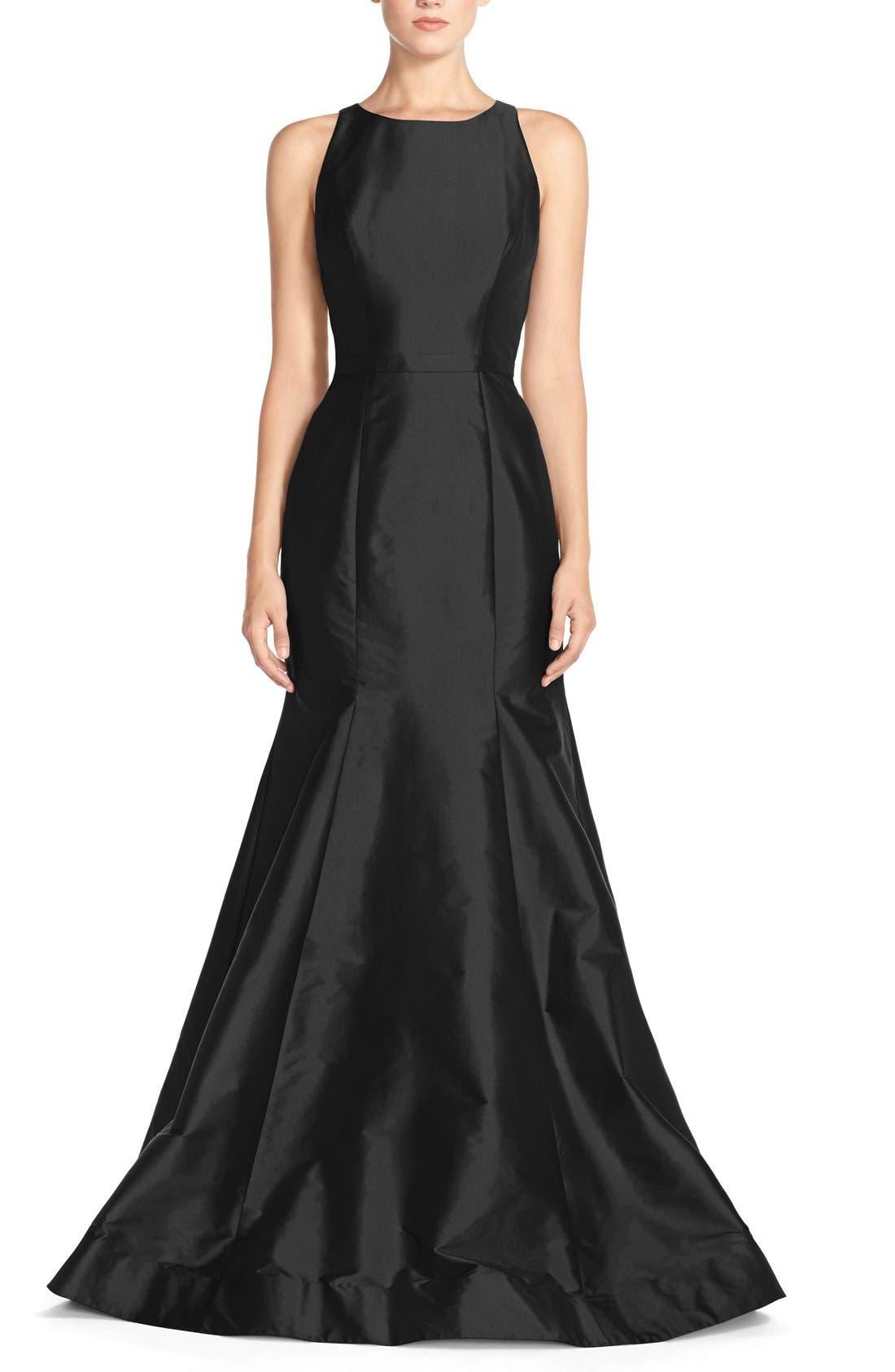 Monique Lhuillier Bridesmaids Back Cutout Taffeta Mermaid Gown