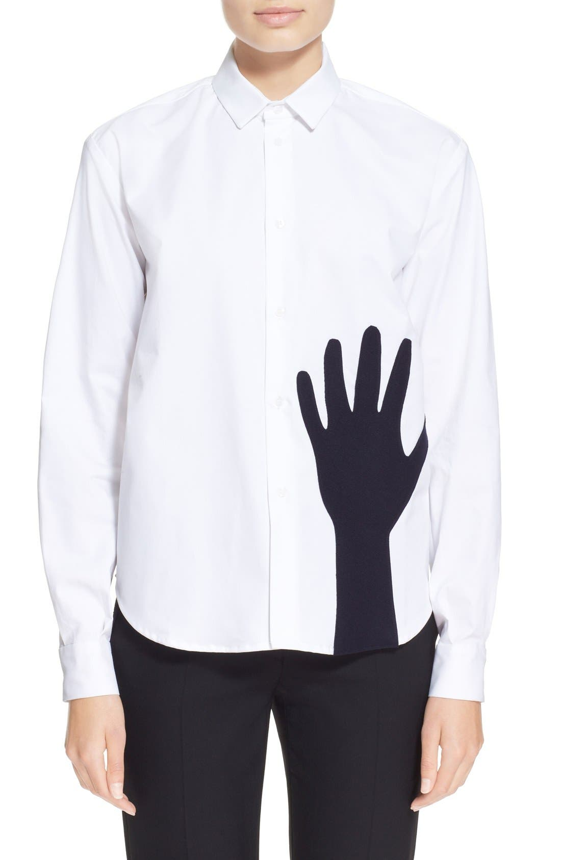 Alternate Image 1 Selected - Jacquemus Contrast Hand Stretch Cotton Shirt