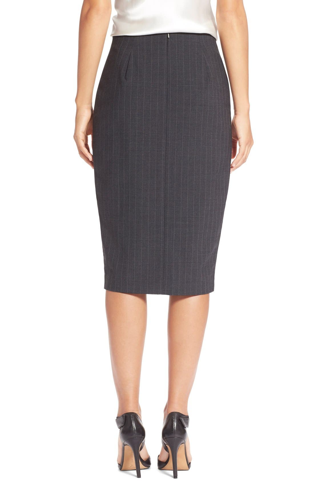 Alternate Image 2  - Halogen® Zip Front Pinstripe Pencil Skirt (Regular & Petite)