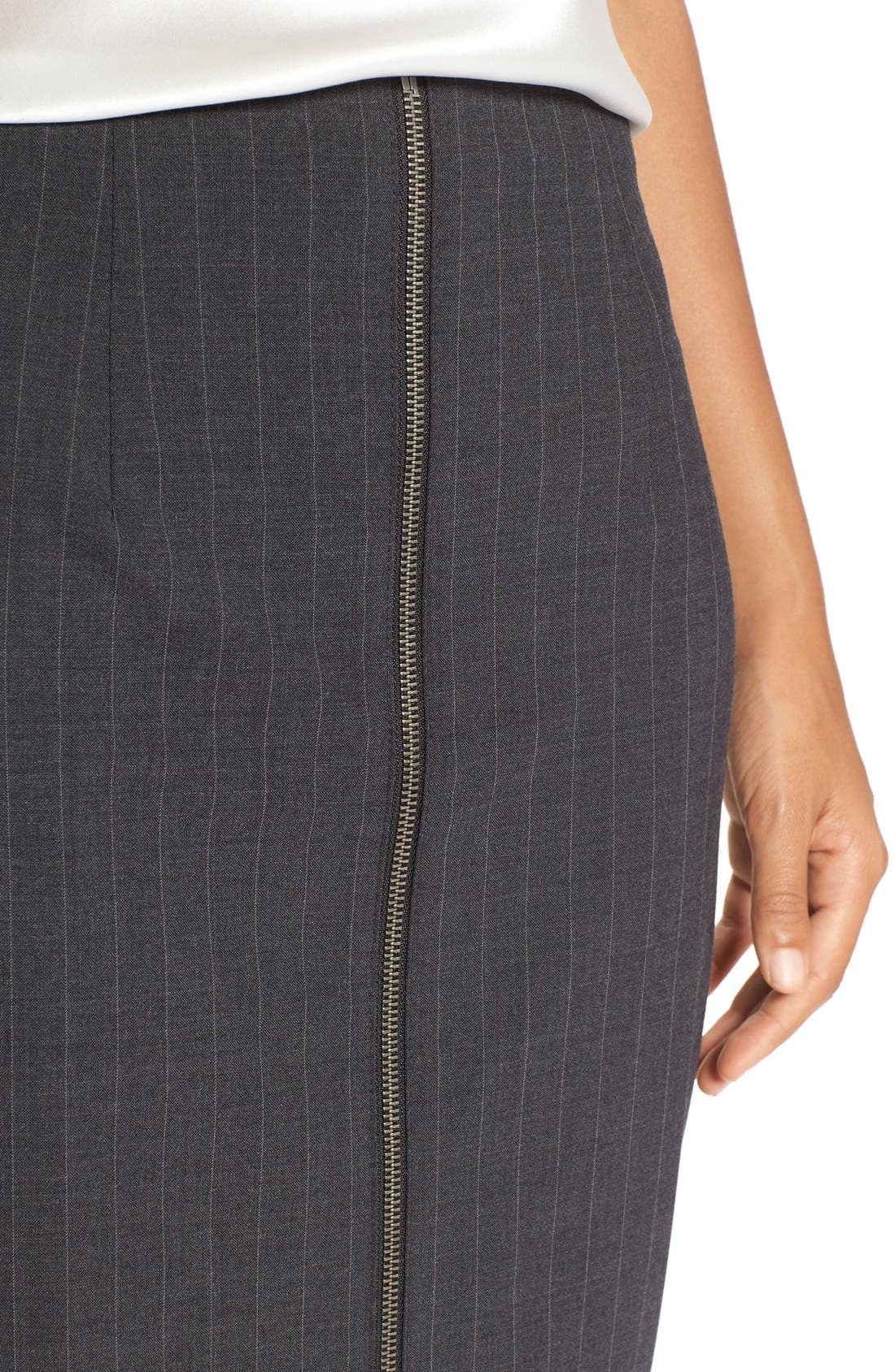 Alternate Image 4  - Halogen® Zip Front Pinstripe Pencil Skirt (Regular & Petite)