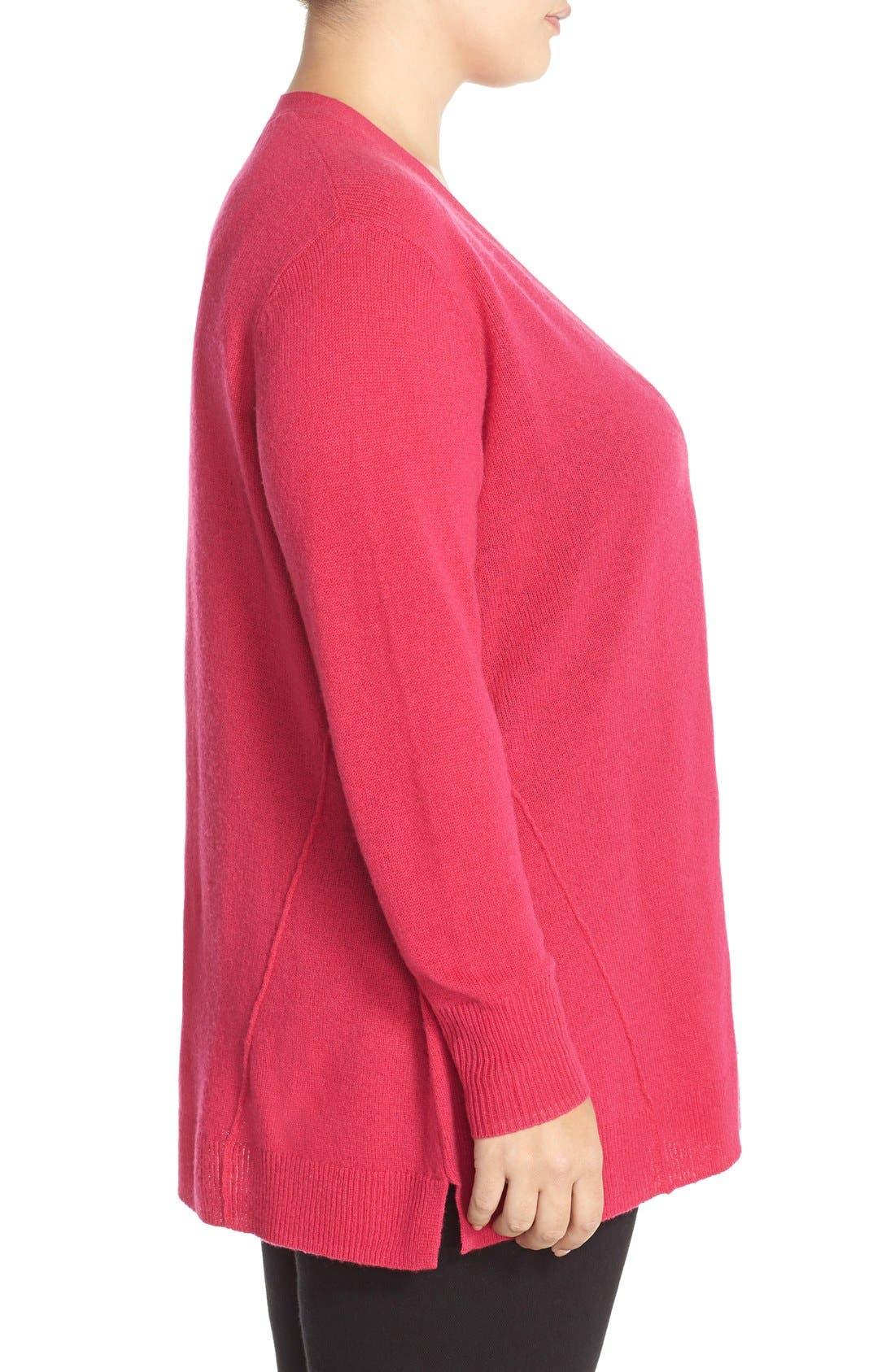 Alternate Image 3  - Sejour Wool & Cashmere Trapeze Cardigan (Plus Size)