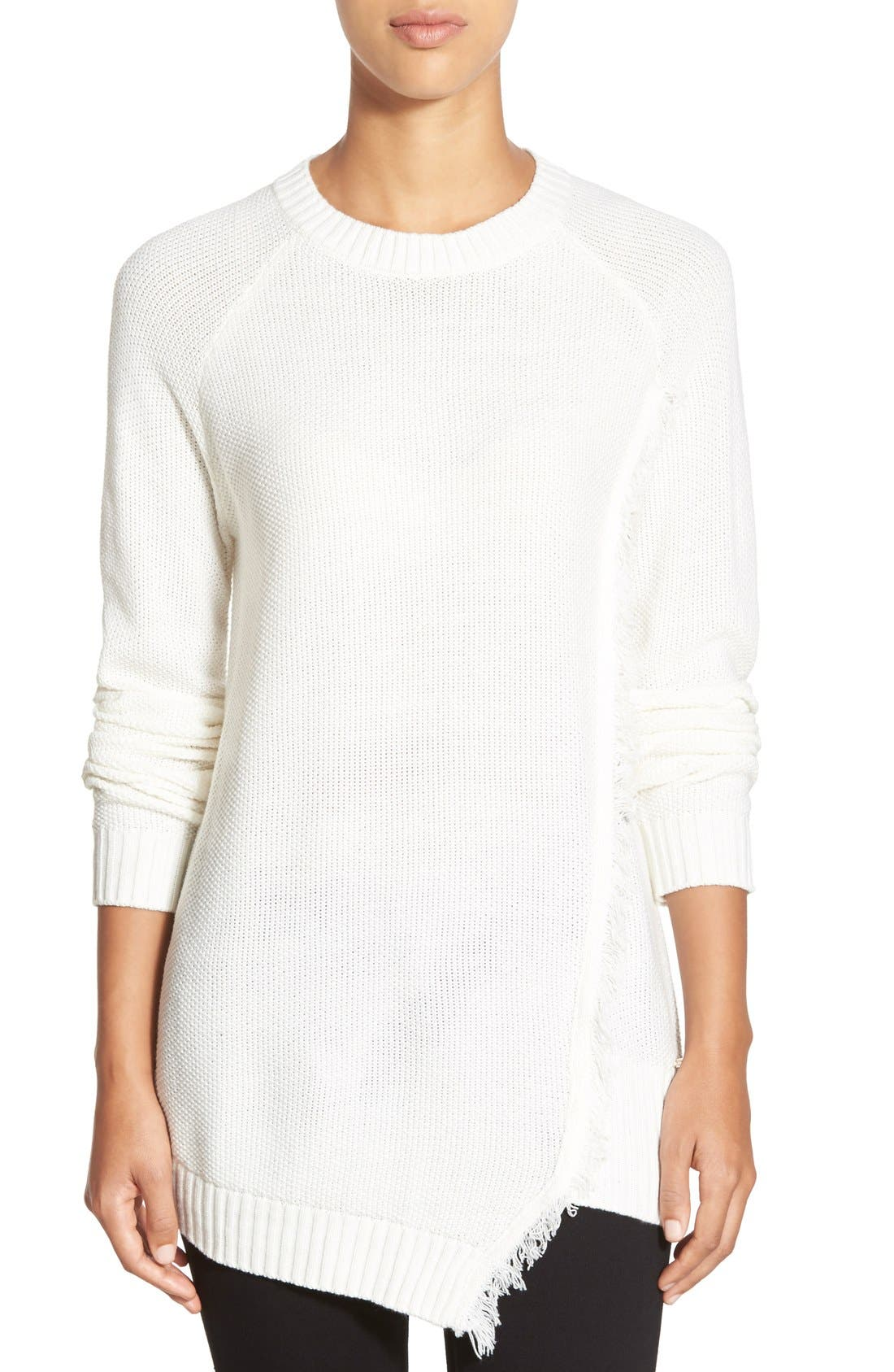 Main Image - Ivanka Trump Fringe Trim Asymmetrical Sweater
