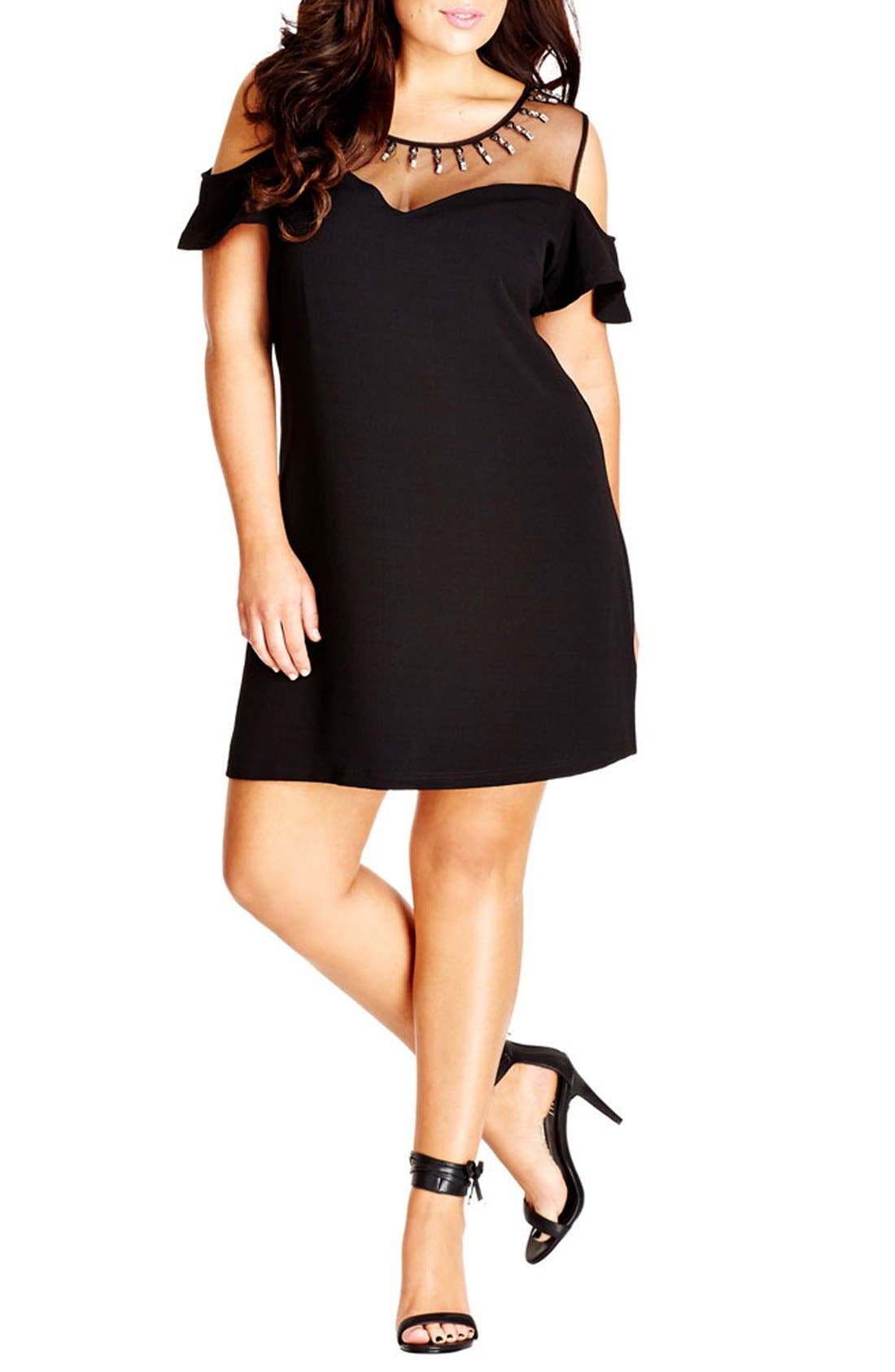 CITY CHIC 'Stud Star' Illusion Off the Shoulder Shift Dress