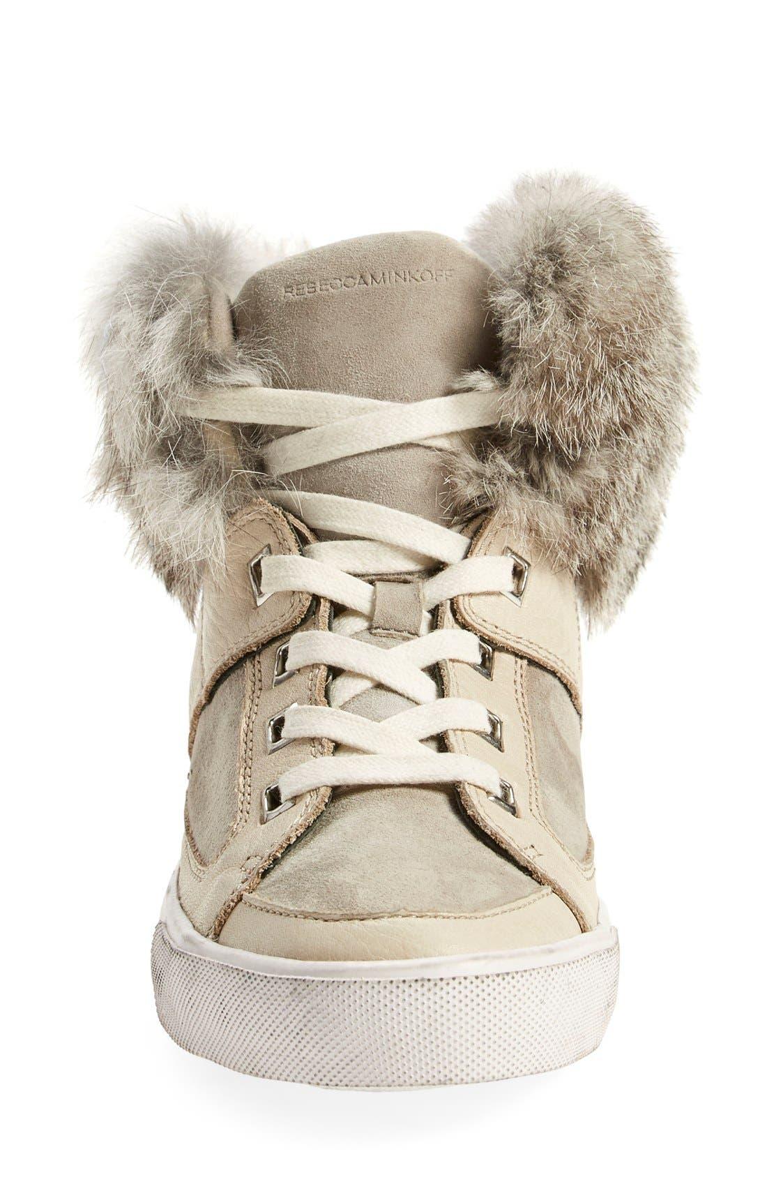 Alternate Image 3  - Rebecca Minkoff'Shiloh' Genuine Rabbit Fur CollarSneaker (Women)