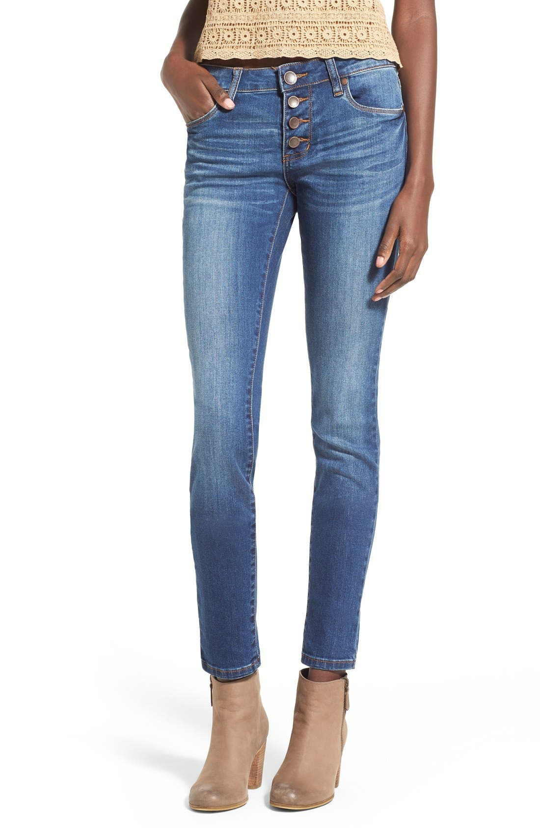 Alternate Image 1 Selected - STS Blue 'Amy' Button Front Super Skinny Jeans