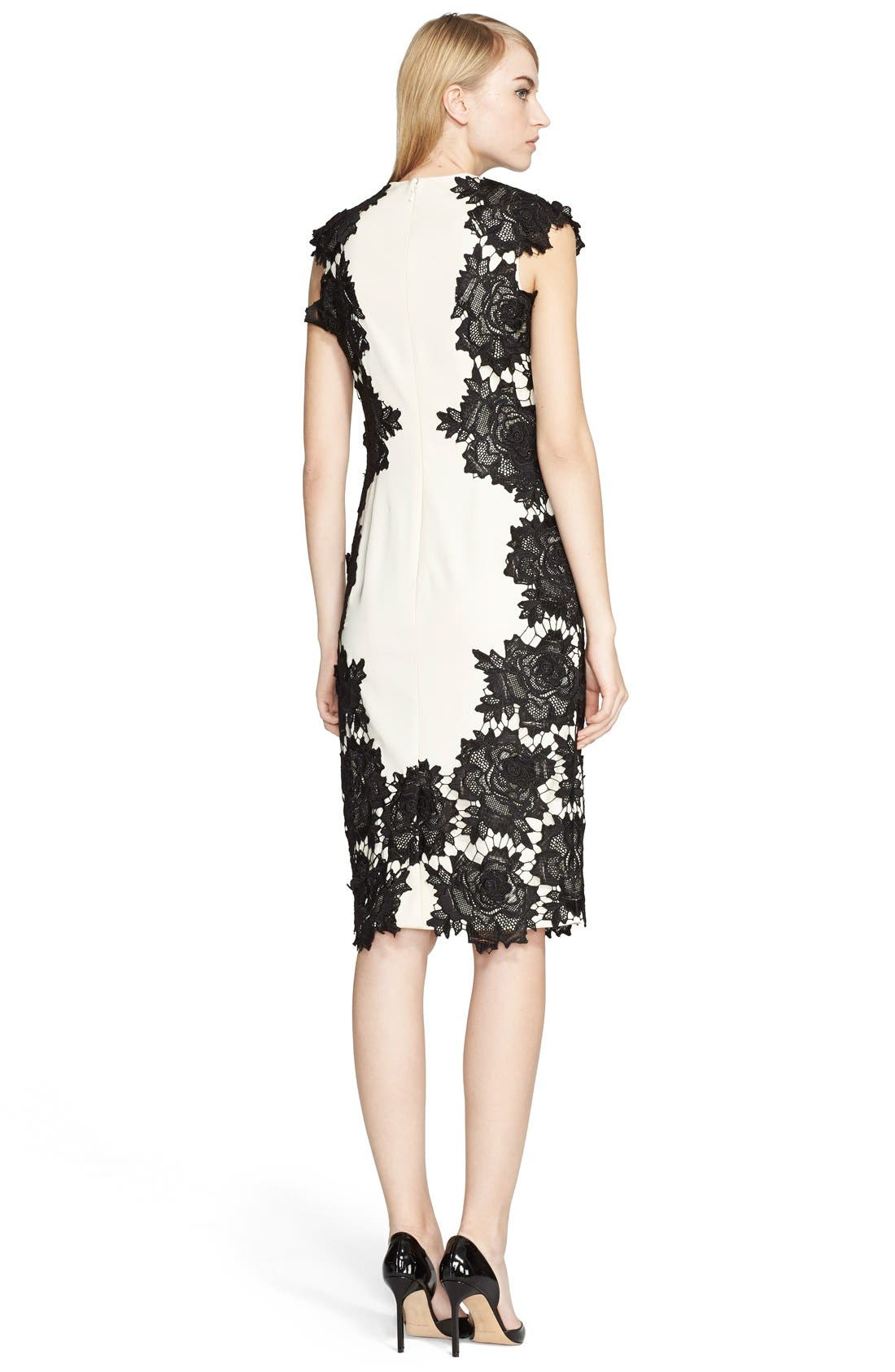 Alternate Image 2  - Lela Rose Guipure Lace Appliqué Sheath Dress