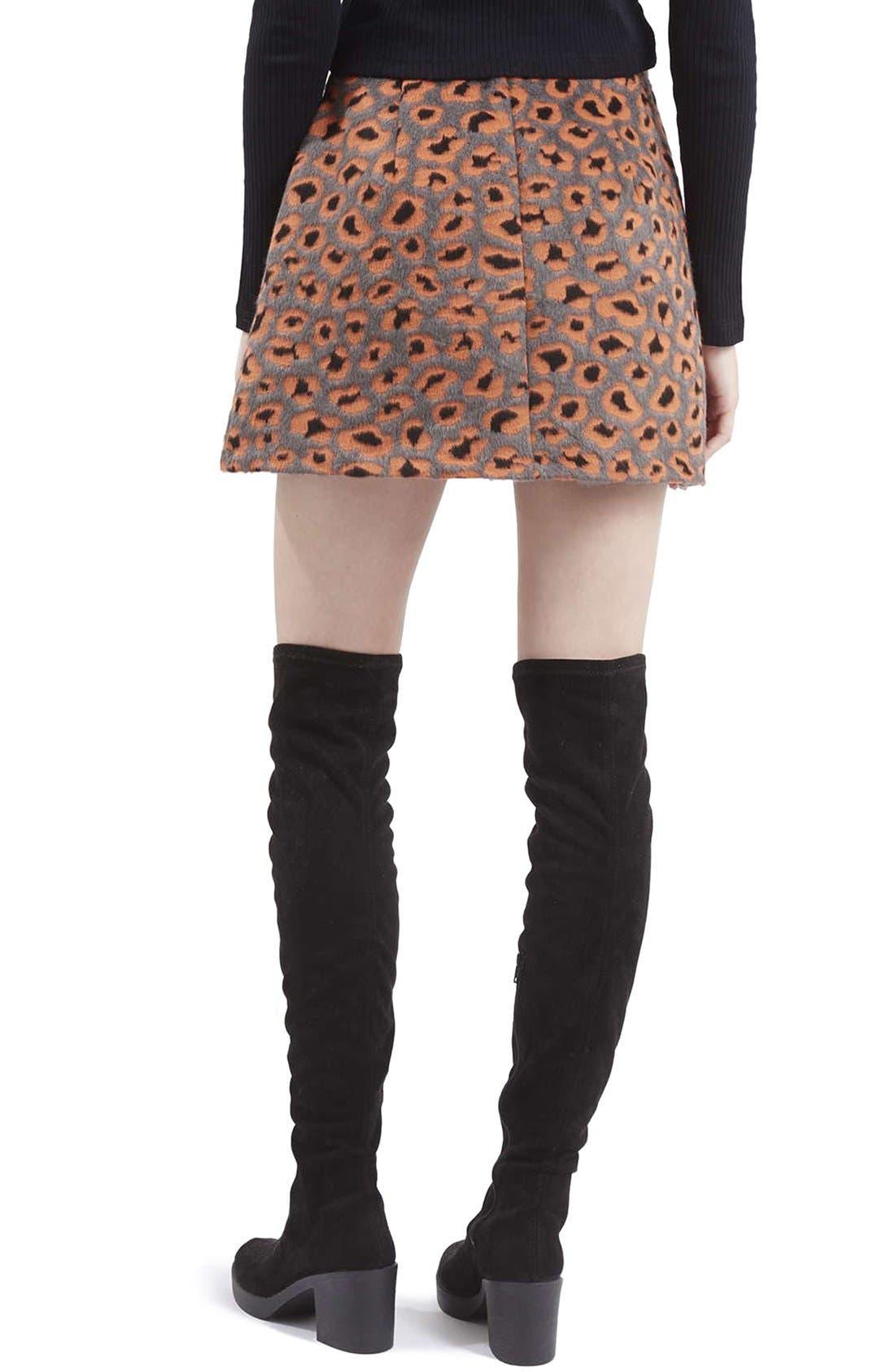 Alternate Image 3  - Topshop Leopard Print A-Line Miniskirt
