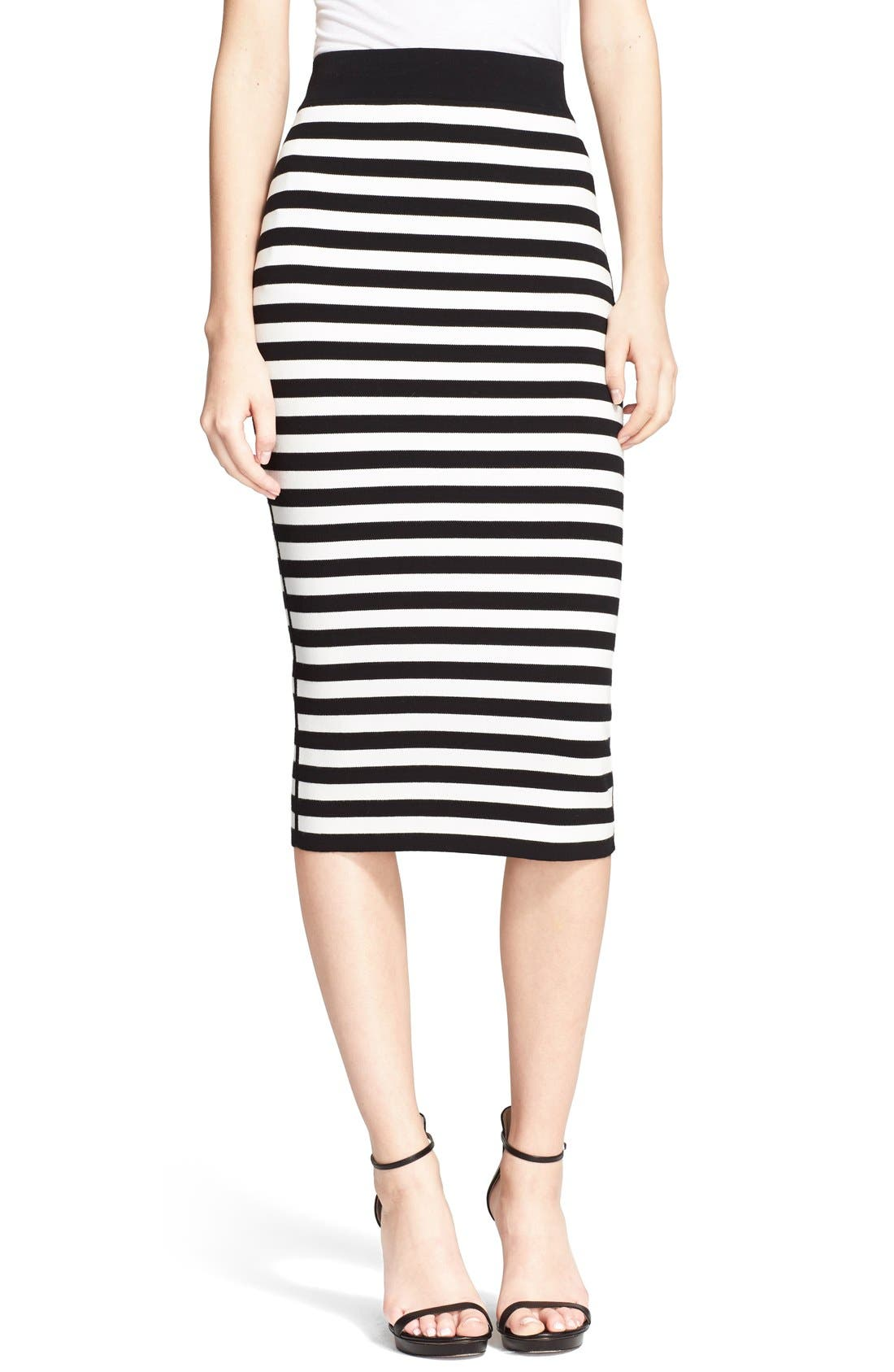 Alternate Image 1 Selected - Michael Kors Stripe Knit Pencil Skirt