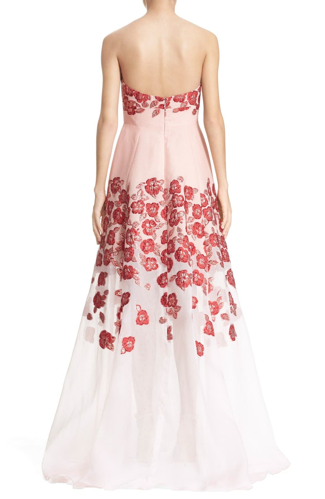 Alternate Image 2  - Lela Rose Strapless Floral FilCoupéGown