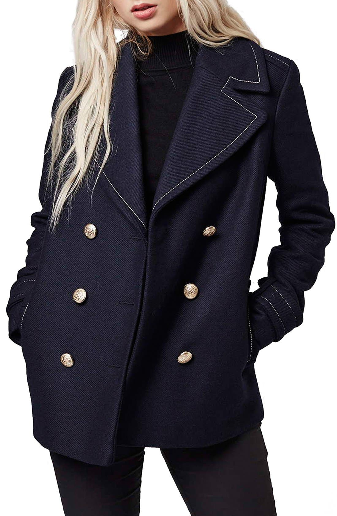 Main Image - Topshop Contrast Stitch Peacoat