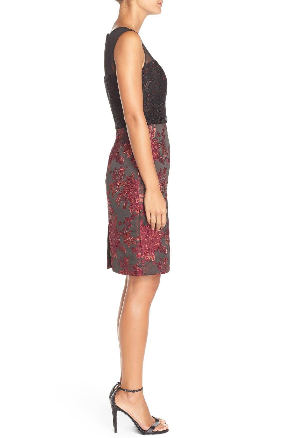Alternate Image 3  - Adrianna Papell Embellished Lace & Jacquard Sheath Dress