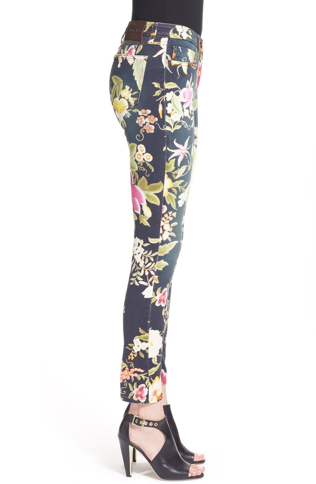 Alternate Image 5  - Etro Floral Print Skinny Fit Stretch Cotton Jeans