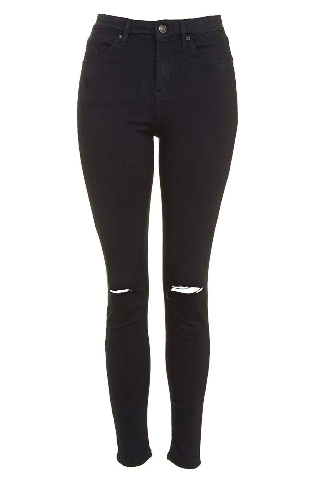 Alternate Image 4  - Topshop Moto 'Jamie' Ripped Crop Skinny Jeans (Black)