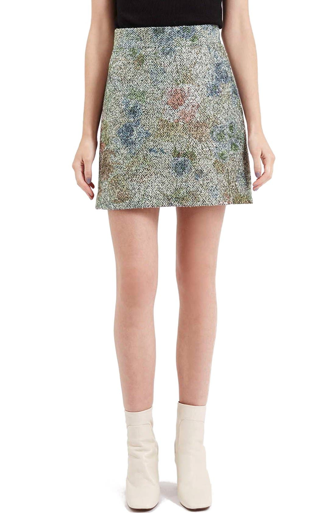 Main Image - Topshop Metallic Floral Bouclé Skirt