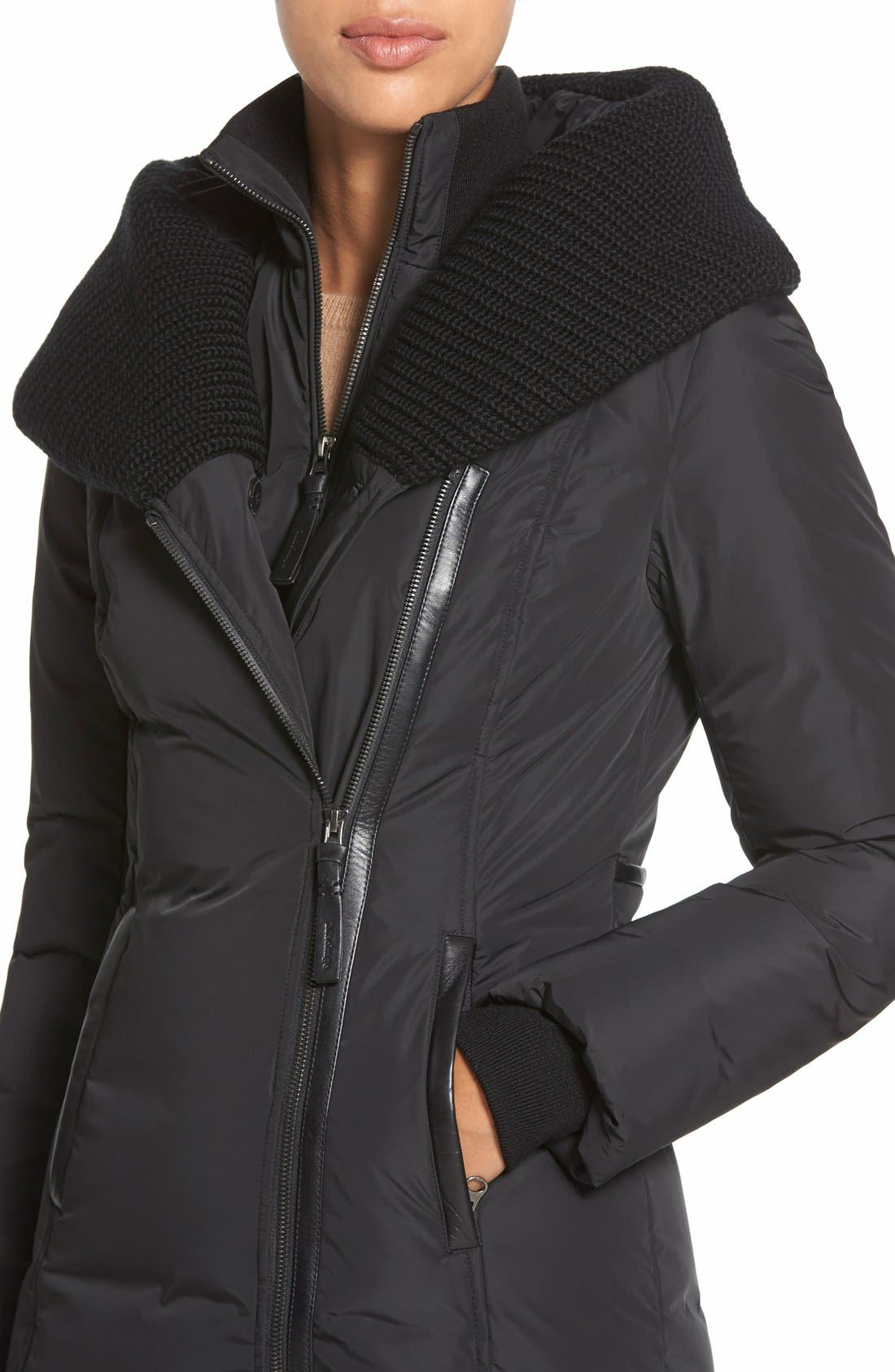 Alternate Image 4  - Mackage Knit Trim Hooded Asymmetrical Zip Long Down Coat