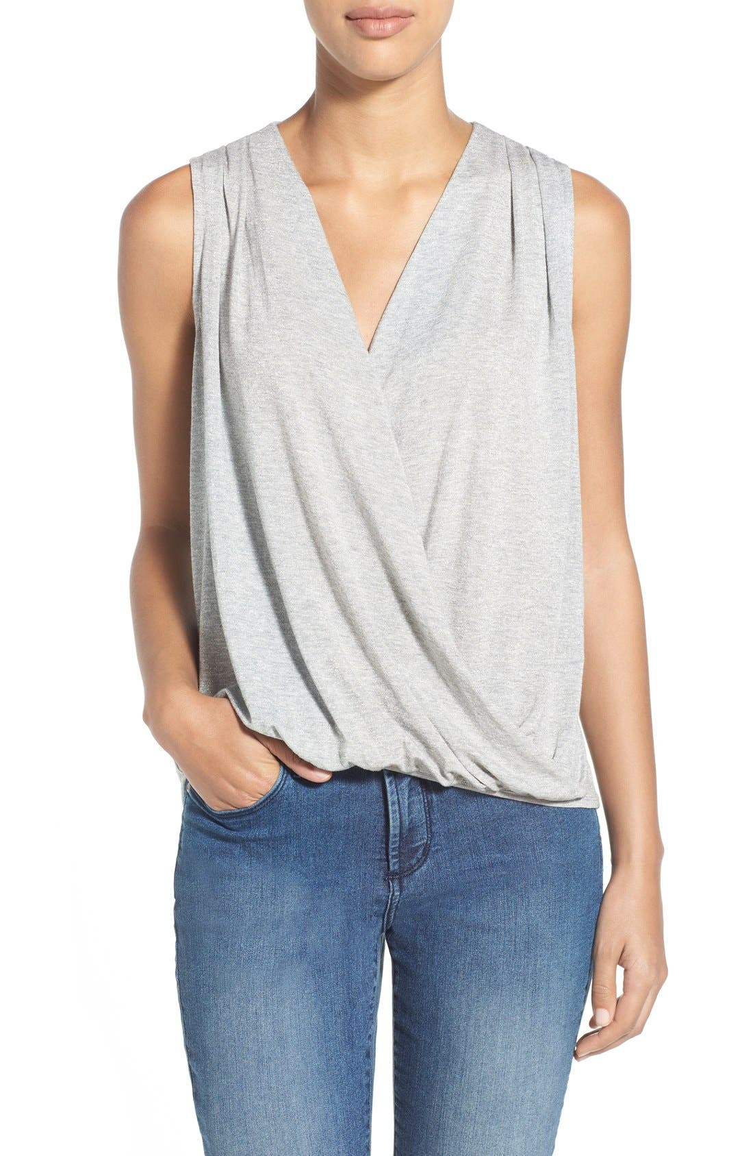 Alternate Image 1 Selected - Bobeau Sleeveless Surplice Front Top