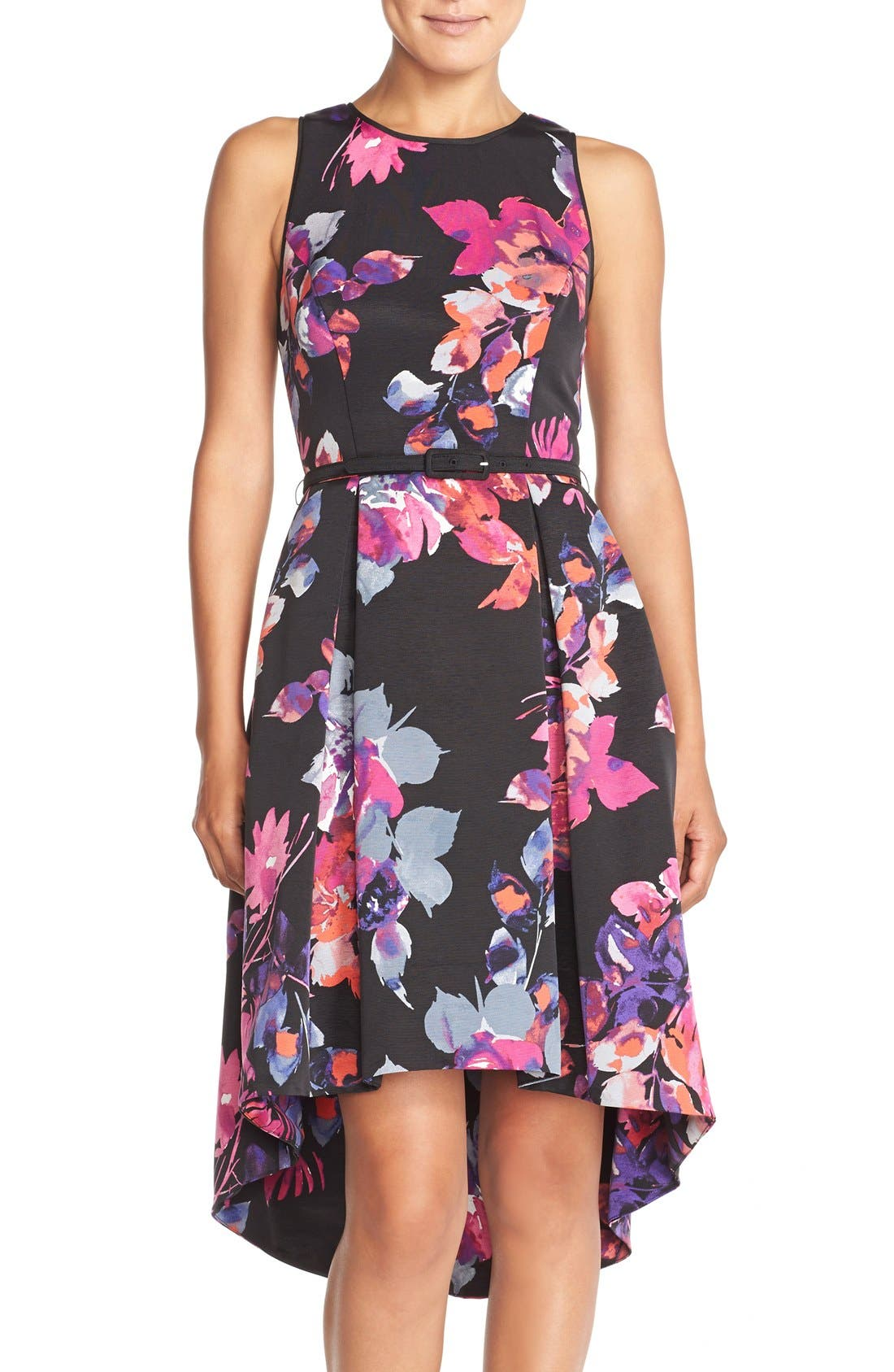Main Image - Vince Camuto Belted Faille Fit & Flare Dress