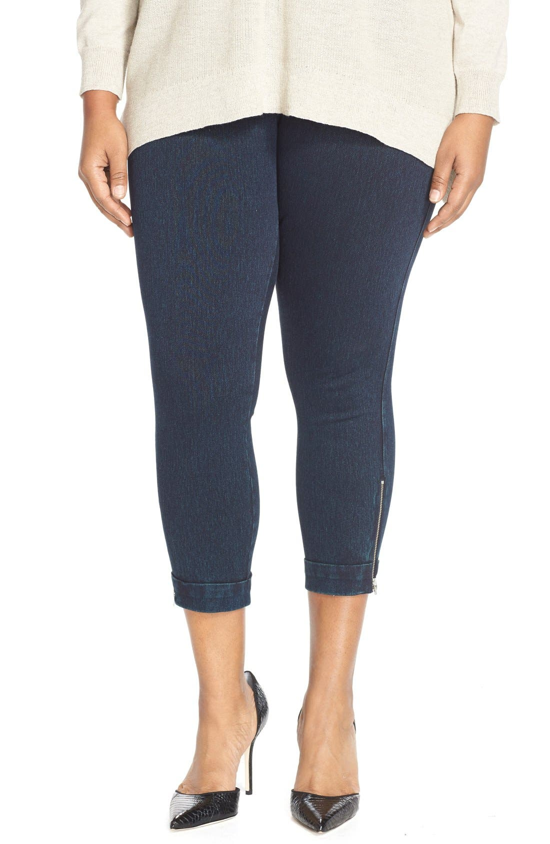 LYSSÉ Cuffed Denim Crop Leggings