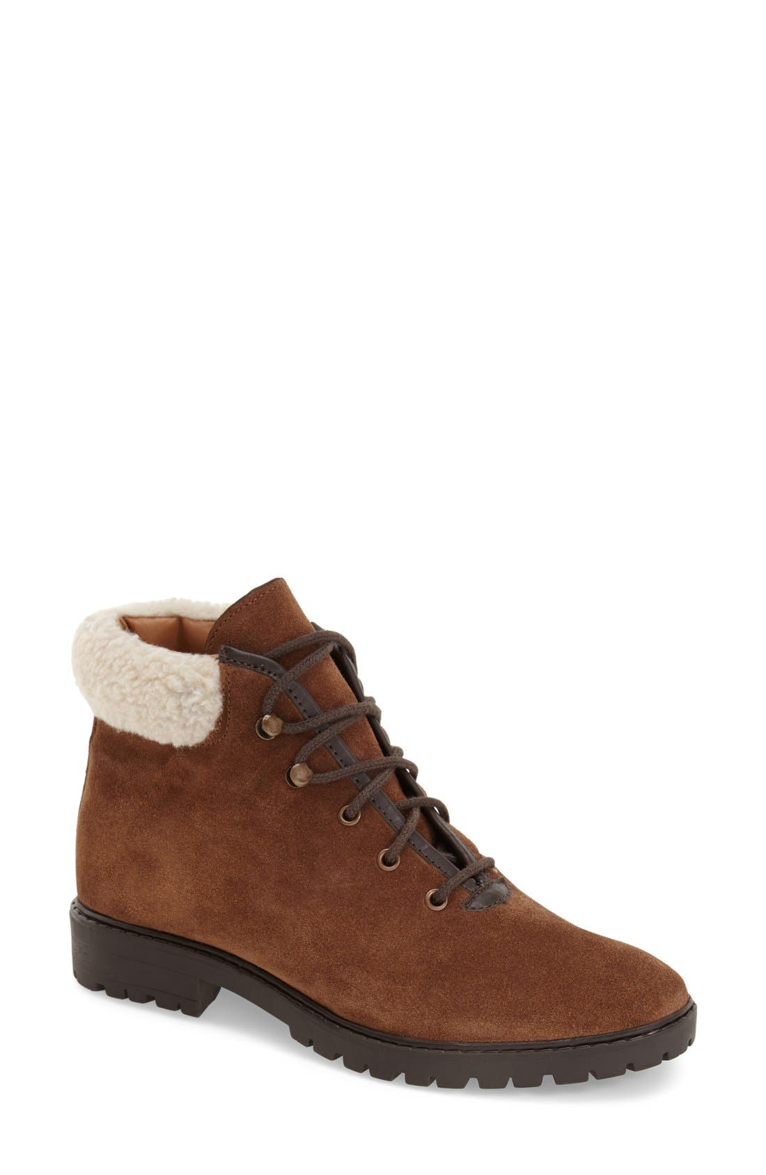 Alternate Image 1 Selected - Topshop Lace-Up Ankle Boots with Faux Fur Trim (Women)