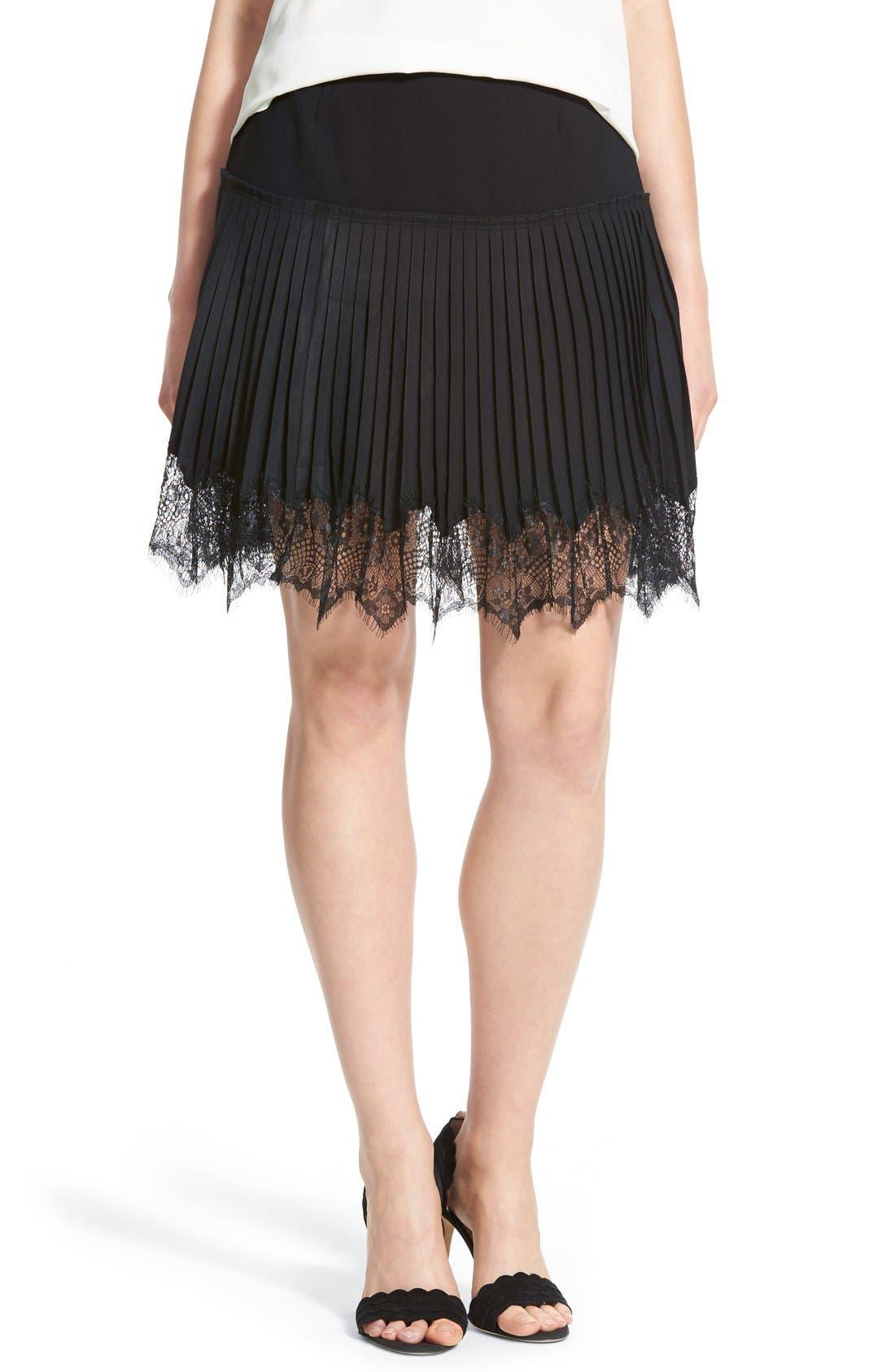 Main Image - Chelsea28 Lace Trim Pleat Miniskirt
