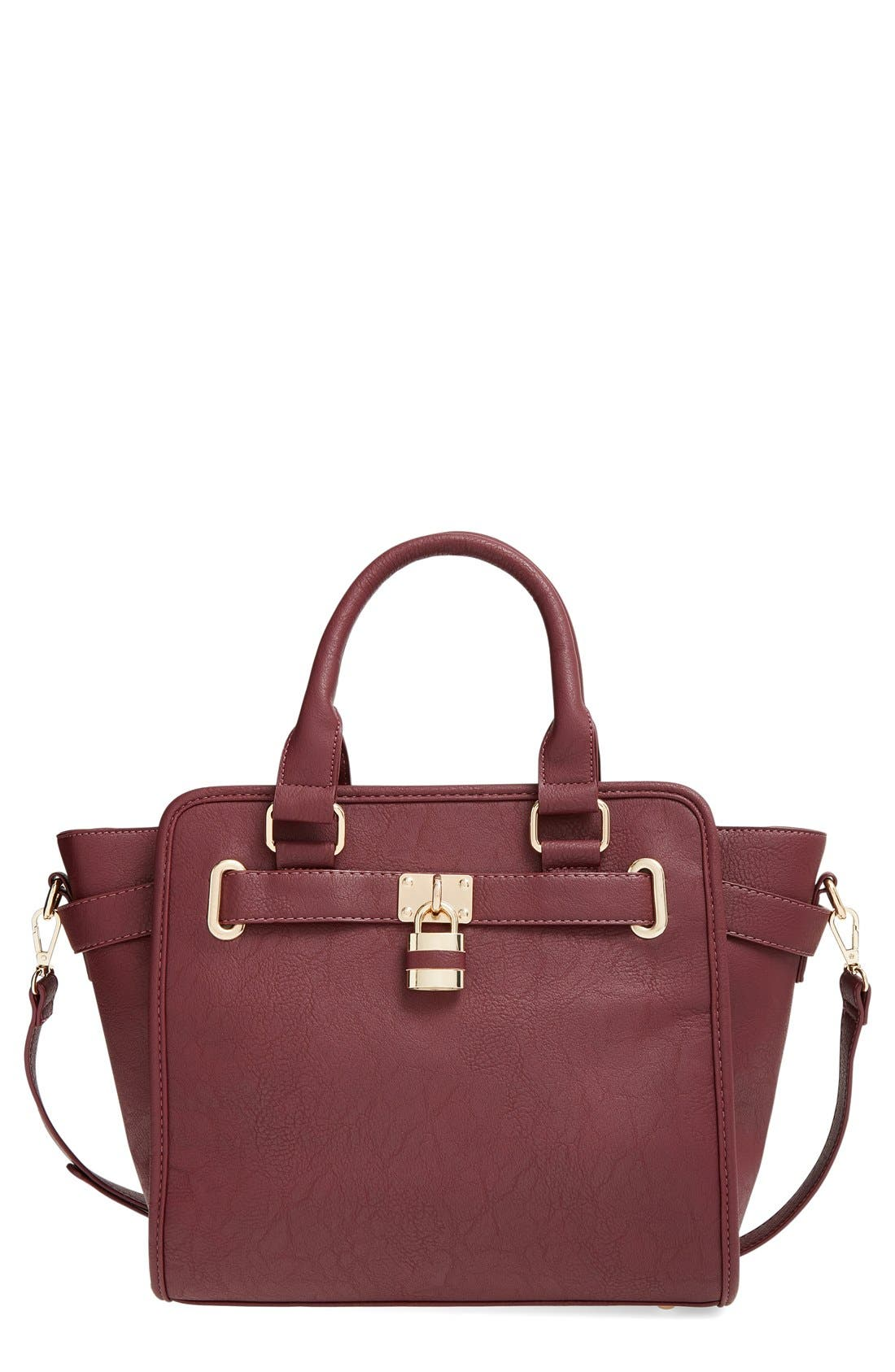 Alternate Image 1 Selected - Cesca Faux Leather Crossbody Lock Satchel
